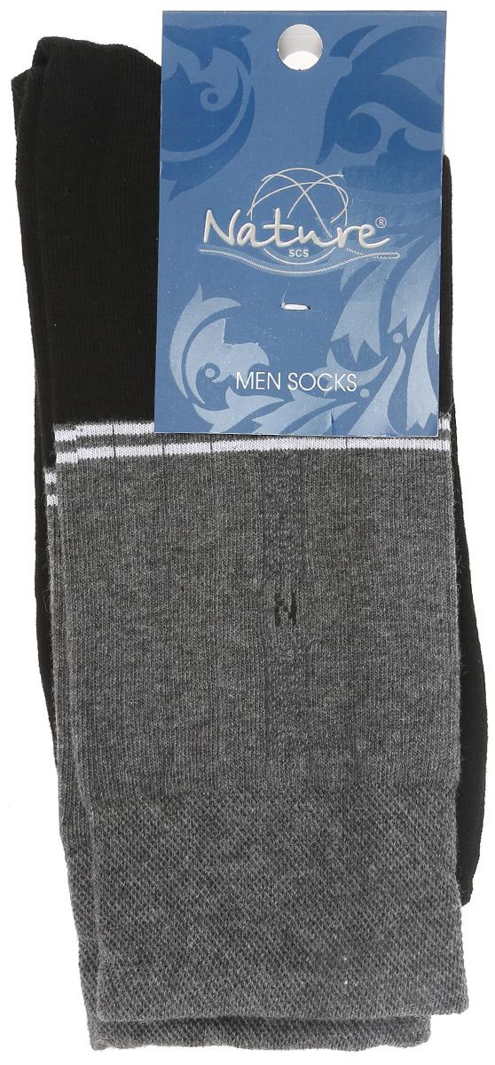 Носки мужские Nature, цвет: черный, серый, 2 пары. 406. Размер 25/27406Удобные мужские носки Nature, изготовленные из высококачественного комбинированного материала, идеально подойдут для повседневной носки. Благодаря содержанию мягкого хлопка в составе, кожа сможет дышать, полиамид обеспечивает износостойкость, а эластан позволяет носочкам легко тянуться, что делает их комфортными в носке. Эластичная резинка плотно облегает ногу, не сдавливая ее, обеспечивая комфорт и удобство. Практичные и комфортные носки с укрепленным мыском и пяткой великолепно подойдут к вашей повседневной обуви. В комплект входят 2 пары носков.