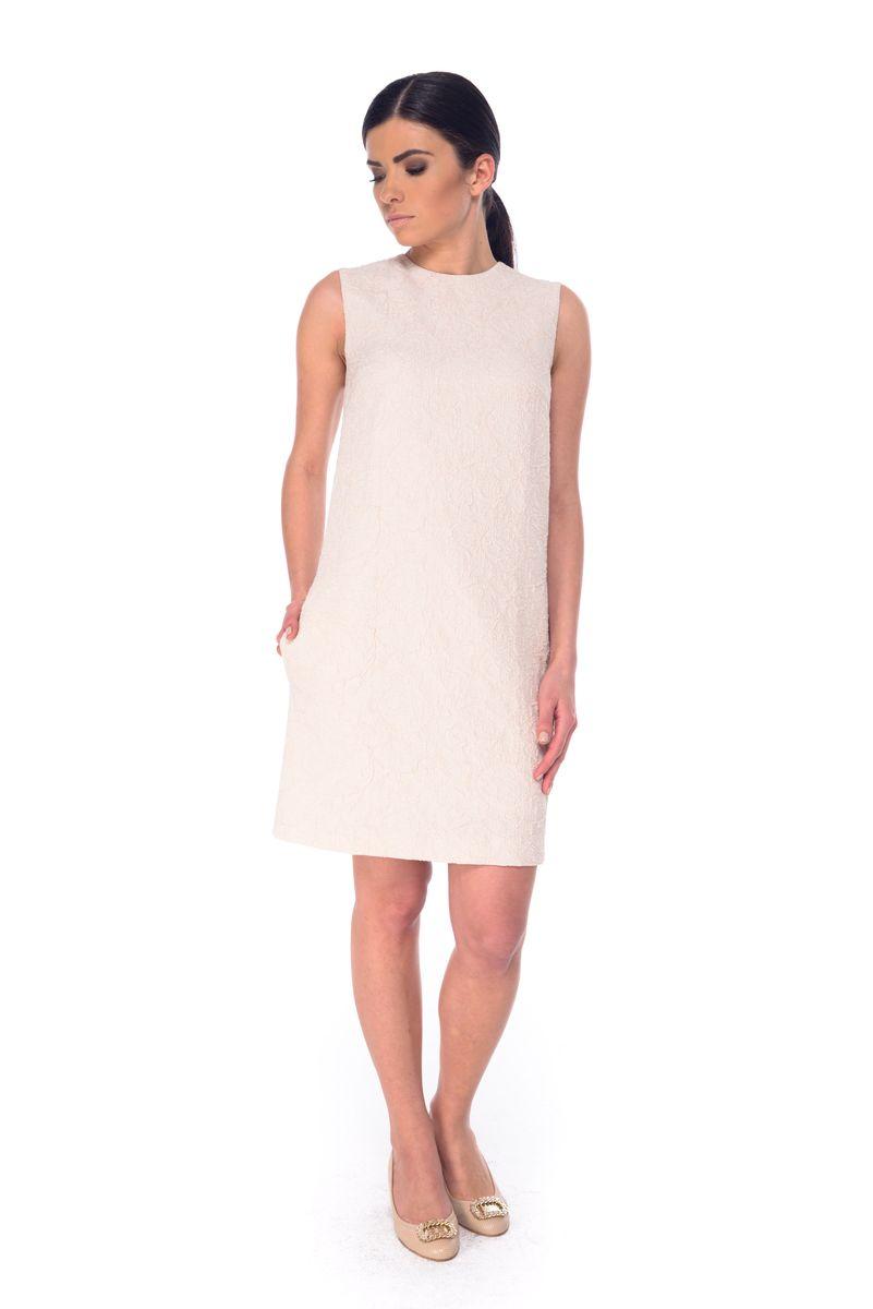 Платье Arefeva, цвет: бежево-розовый. L 9050. Размер XL (50)L 9050Платье Arefeva выполнено из высококачественного комбинированного материала и дополнено подкладкой из полиэстера. Модель с круглым вырезом горловины застегивается на потайную застежку-молнию расположенную в среднем шве спинки. Платье-миди оформлено оригинальным узором.