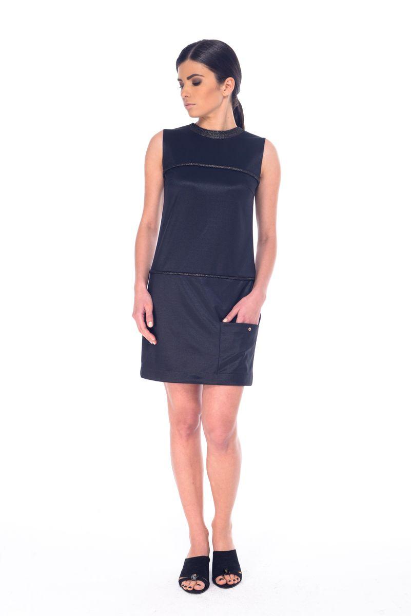 Платье Arefeva, цвет: черный. L 9052. Размер M (46)L 9052Платье Arefeva выполнено из полиэстера с добавлением спандекса. Модель с круглым вырезом горловины без рукавов имеет потайную застежку-пуговицу.Платье-миди оформлено спереди контрастными полосками с добавлением люрекса и дополнено накладным карманом, украшенным металлической пуговицей.
