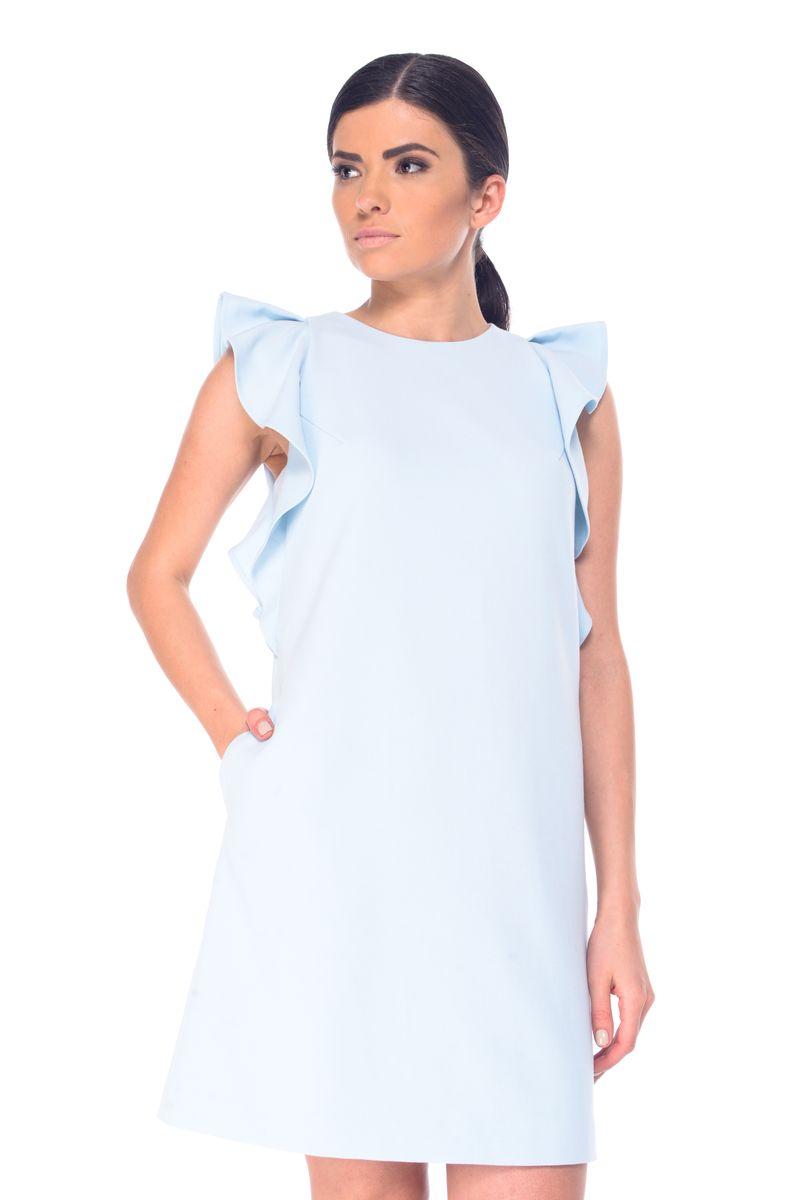 Платье Arefeva, цвет: бледно-голубой. L 9069. Размер M (46)L 9069Стильное платье Arefeva выполнено из полиэстера с добавлением спандекса.Платье-миди с круглым вырезом горловины и короткими рукавами-крылышками застегивается на скрытую застежку-молнию, расположенную на спинке. По бокам расположены втачные карманы.