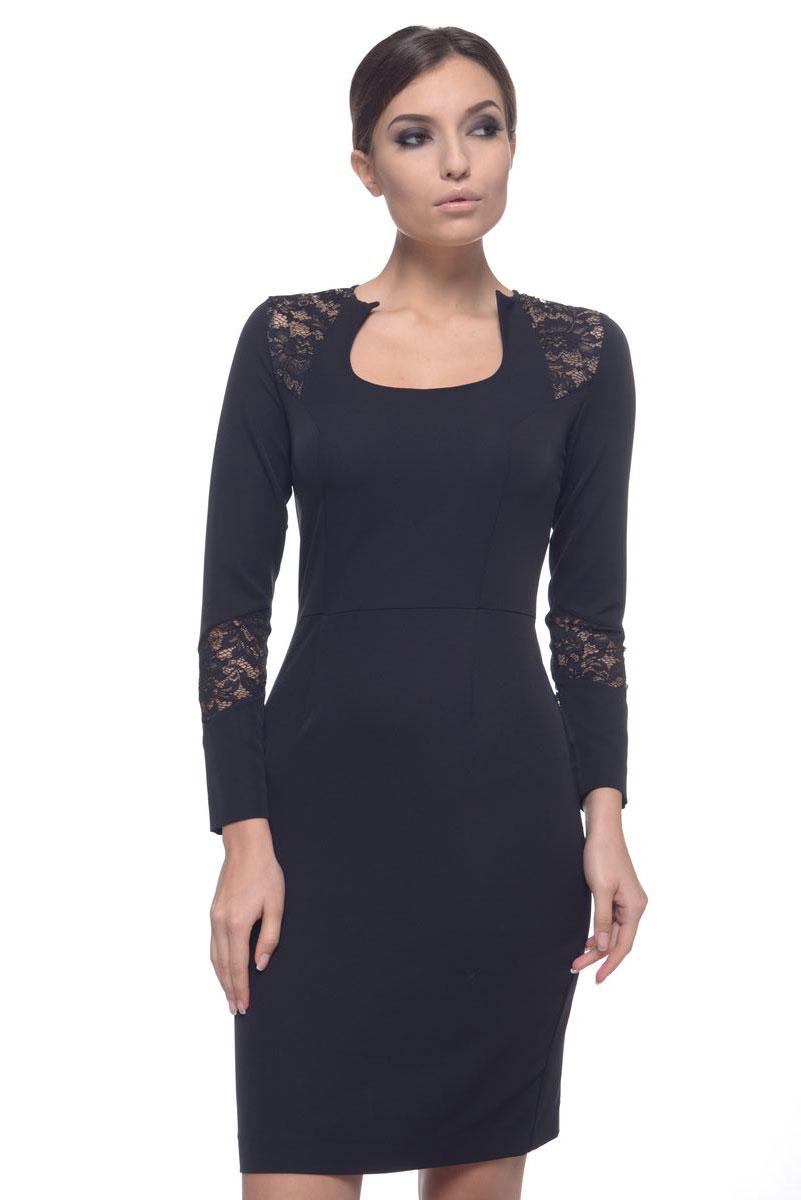 Платье Arefeva, цвет: черный. 09028. Размер M (46)09028Модное платье Arefeva поможет создать отличный современный образ. Модель, изготовленная из эластичного полиэстера, застегивается на скрытую застежку-молнию, расположенную на спинке. Платье-миди с фигурным вырезом горловины и длинными рукавами оформлено кружевными вставками.
