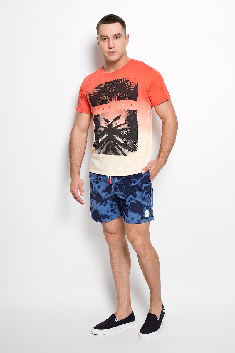 Футболка мужская ONeill, цвет: красный, коралловый, бежевый. 602325-3082. Размер S (46)602325-3082Стильная мужская футболка ONeill, выполненная из высококачественного натурального хлопка, обладает высокой воздухопроницаемостью и гигроскопичностью, позволяет коже дышать. Такая футболка великолепно подойдет как для повседневной носки, так и для спортивных занятий.Модель с короткими рукавами и круглым вырезом горловины - идеальный вариант для создания модного современного образа. Футболка оформлена оригинальным принтом с изображением пальм и логотипом бренда.Такая модель подарит вам комфорт в течение всего дня и послужит замечательным дополнением к вашему гардеробу.