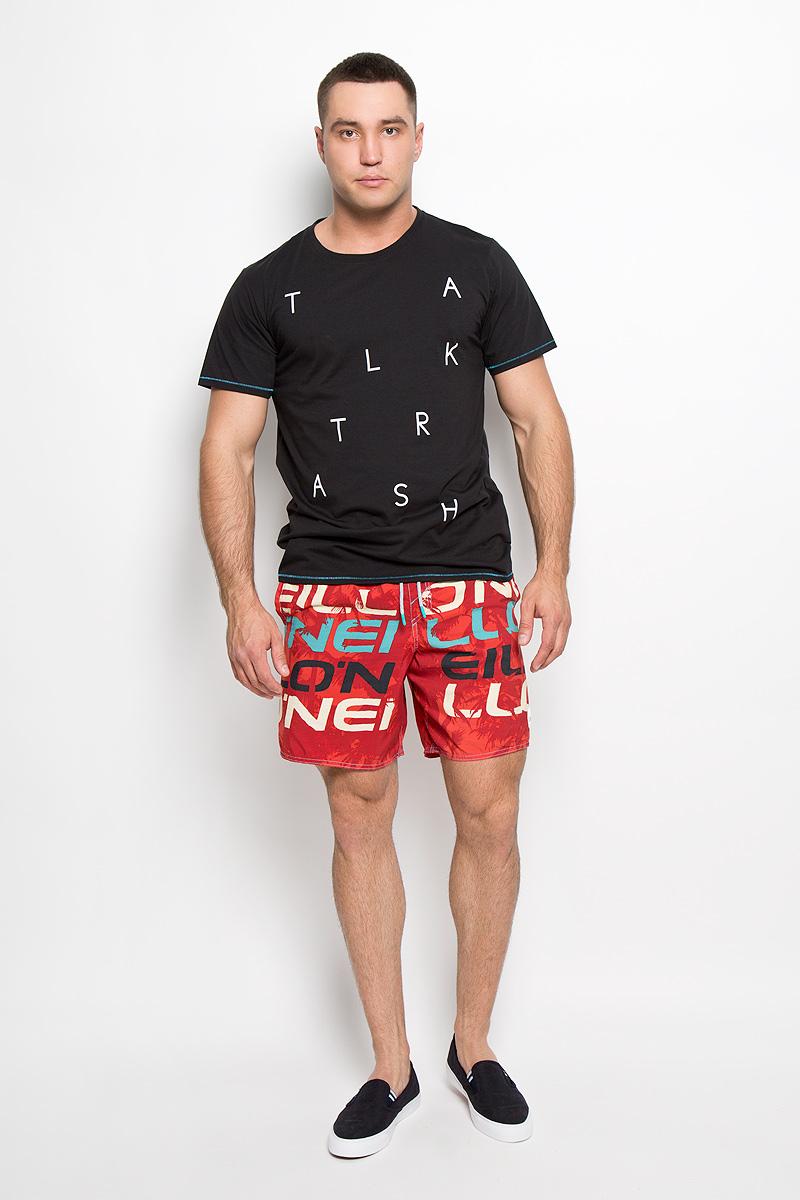 Футболка мужская ONeill, цвет: черный. 601710-9010. Размер M (48)601710-9010Стильная мужская футболка ONeill, выполненная из высококачественного полиэстера с добавлением хлопка, обладает высокой воздухопроницаемостью и гигроскопичностью, позволяет коже дышать. Такая футболка великолепно подойдет как для повседневной носки, так и для спортивных занятий.Модель с короткими рукавами и круглым вырезом горловины - идеальный вариант для создания модного современного образа. Футболка оформлена принтом с надписью Talk Trash. Такая модель подарит вам комфорт в течение всего дня и послужит замечательным дополнением к вашему гардеробу.
