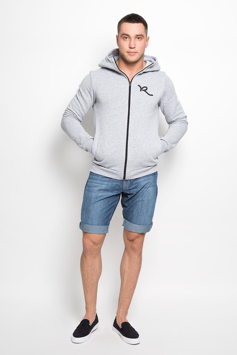 Толстовка мужская Rocawear, цвет: светло-серый. R0315К01. Размер XL (52)R0315К01Стильная и уютная мужская толстовка Rocawear, изготовленная из хлопка с добавлением полиэстера, мягкая и приятная на ощупь, обладает хорошей гигроскопичностью и позволяет коже дышать. Модель с капюшоном и длинными рукавами застегивается на застежку-молнию спереди, она не сковывает движений и обеспечивает наибольший комфорт. Манжеты рукавов и низ толстовки оснащены эластичными резинками. Спереди толстовка дополнена двумя втачными карманами и украшена принтом с логотипом бренда.Эта толстовка - настоящее воплощение комфорта, он послужит отличным дополнением к вашему гардеробу. В ней вы будете чувствовать себя уютно и уверенно.