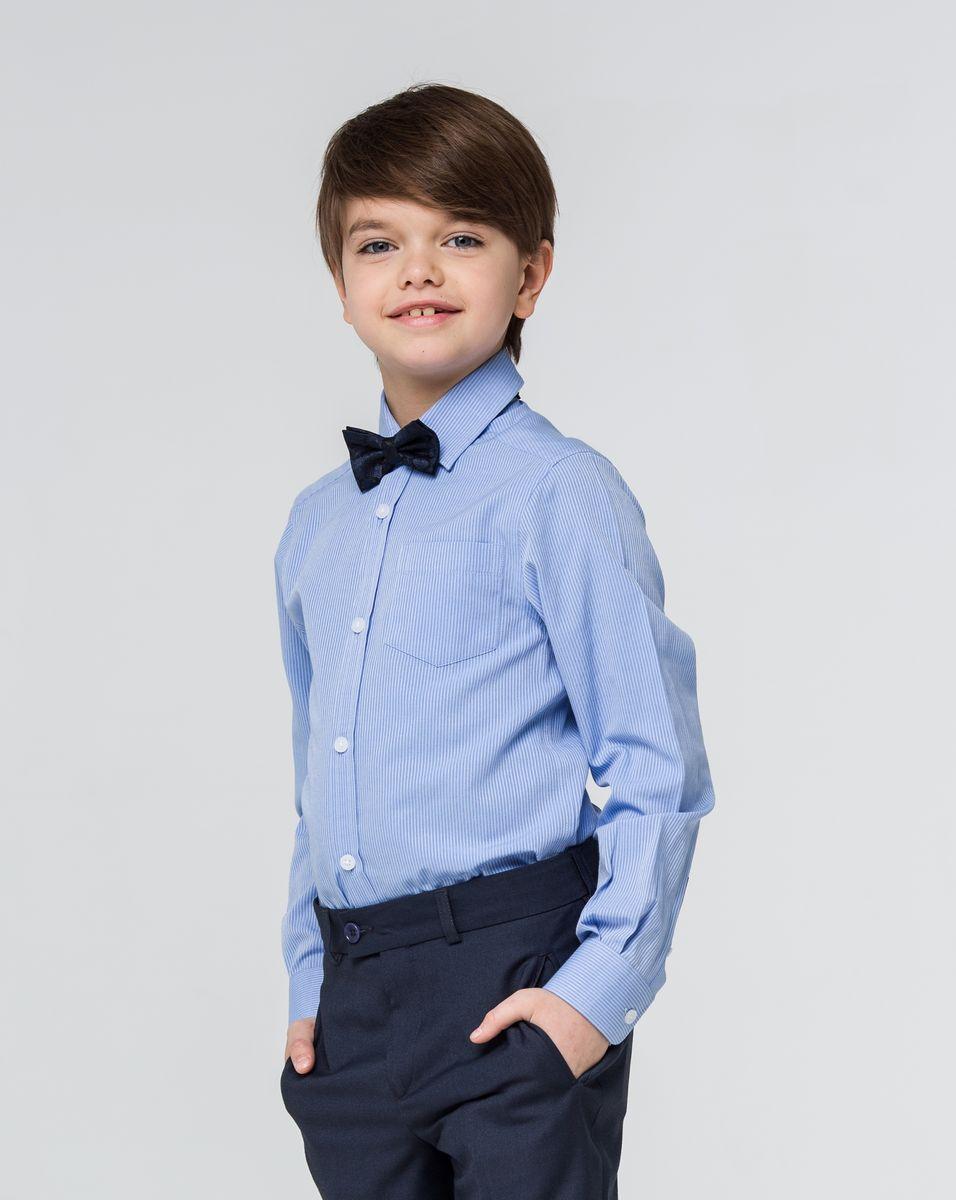 Рубашка для мальчика Silver Spoon, цвет: синий. SSFSB-629-13830-318. Размер 164SSFSB-629-13830-318Стильная рубашка Silver Spoon станет отличным дополнением к школьному гардеробу вашего мальчика. Модель, выполненная из хлопка с добавлением полиэстера, необычайно мягкая и приятная на ощупь, не сковывает движения и позволяет коже дышать. Рубашка классического кроя с длинными рукавами и отложным воротником застегивается на пуговицы по всей длине. На манжетах предусмотрены застежки-пуговицы. Модель оформлена принтом в мелкую полоску. На груди расположен накладной карман.
