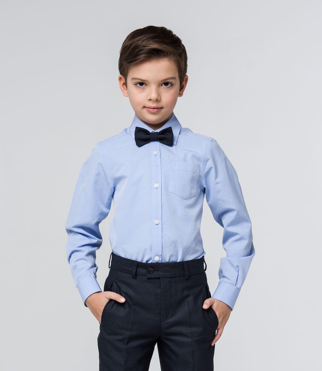 Рубашка для мальчика Silver Spoon, цвет: светло-синий. SSFSB-629-13830-319. Размер 164SSFSB-629-13830-319Стильная рубашка Silver Spoon станет отличным дополнением к школьному гардеробу вашего мальчика. Модель, выполненная из хлопка с добавлением полиэстера, необычайно мягкая и приятная на ощупь, не сковывает движения и позволяет коже дышать. Рубашка классического кроя с длинными рукавами и отложным воротником застегивается на пуговицы по всей длине. На манжетах предусмотрены застежки-пуговицы. На груди расположен накладной карман. Модель оформлена оригинальным принтом.