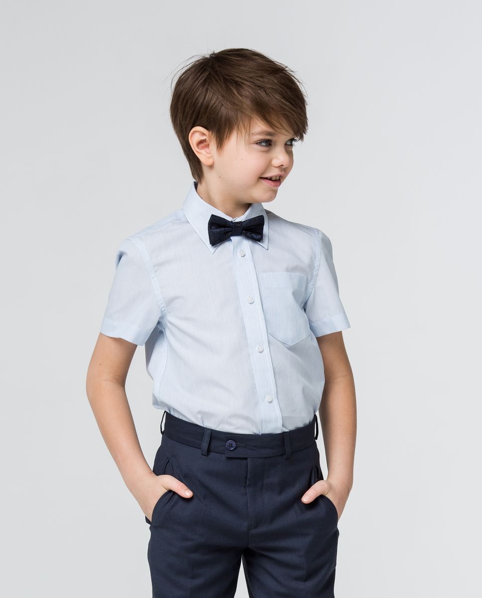 Рубашка для мальчика Silver Spoon, цвет: голубой, белый. SSFSB-629-13930-344. Размер 164SSFSB-629-13930-344Модная рубашка для мальчика Silver Spoon изготовлена из натурального хлопка с добавлением полиэстера. Рубашка с отложным воротником и короткими рукавами застегивается на пуговицы. Изделие оформлено принтом в мелкую полоску и на груди дополнена накладным кармашком.