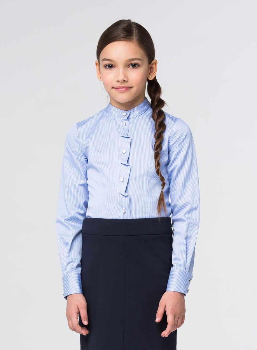 Блузка для девочки Silver Spoon, цвет: светло-синий, белый. SSFSG-629-23006-314. Размер 152SSFSG-629-23006-314Очаровательная блузка Silver Spoon станет отличным дополнением к школьному гардеробу вашей девочки. Модель изготовлена из хлопка с добавлением полиэстера.Блузка с воротником-стойкой и длинными рукавами застегивается спереди на пуговицы, украшенные стразами. Манжеты рукавов оснащены застежками-пуговицами. Модель оформлена принтом в полоску.