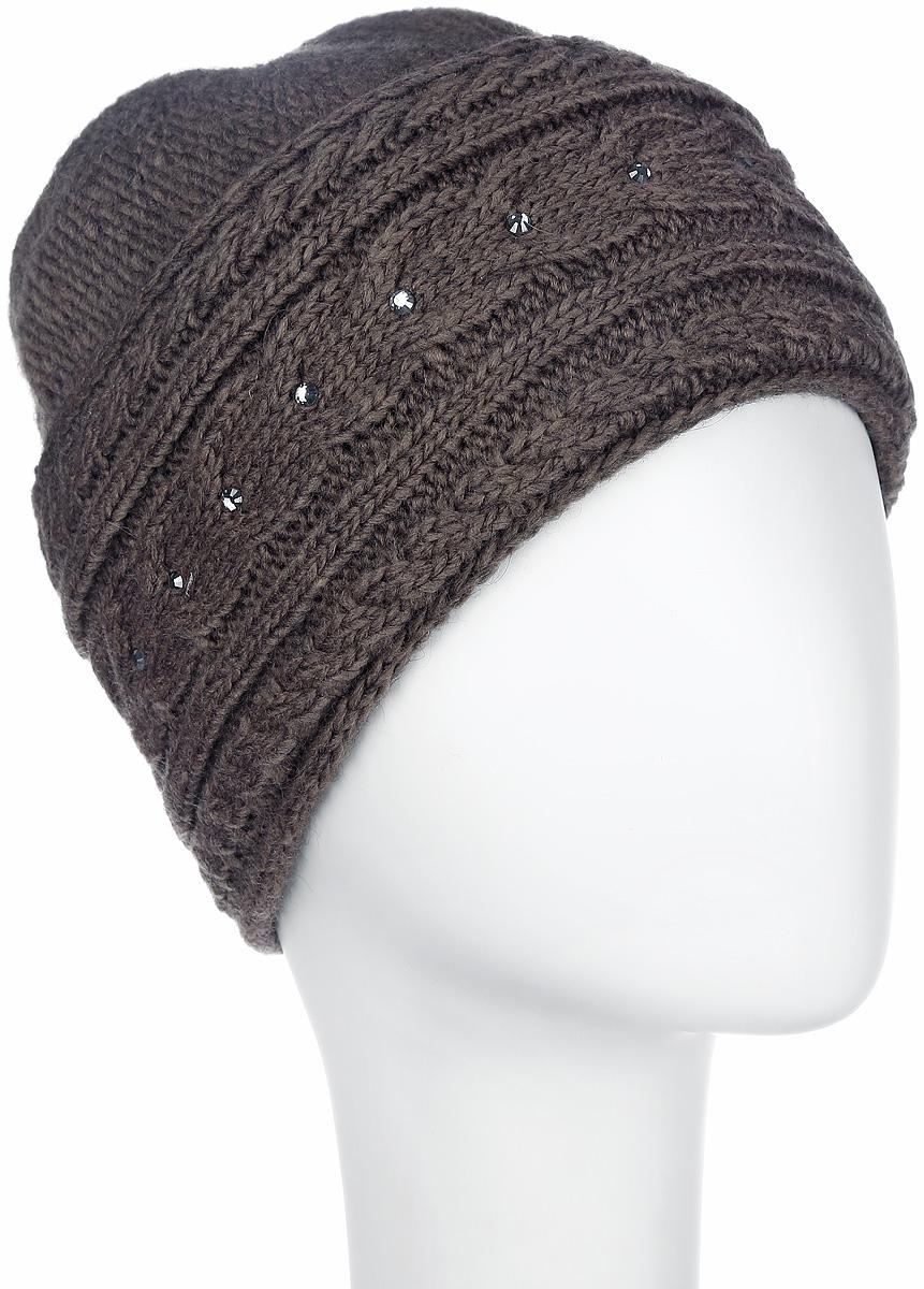 Шапка женская Flioraj, цвет: коричневый. 7108S-35. Размер М (57)7108S-35Стильная женская шапка Flioraj - теплая модель для холодной погоды. Сочетание различных материалов обеспечивает сохранение тепла и удобную посадку. Модель отлично тянется и оформлена крупной фигурной вязкой и стразами. Понизу шапка дополнена широким отворотом.Flioraj - комфортная защита от холода.