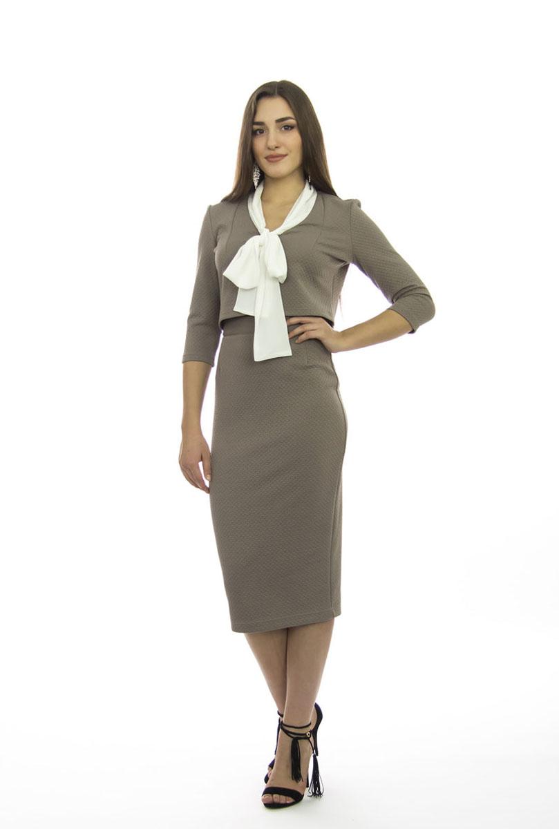 Комплект женский Lautus: блузка, юбка, цвет: серо-бежевый. к511. Размер 48к511Шикарный женский комплект Lautus, состоящий из блузки и юбки, станет отличным дополнением к вашему гардеробу.Комплект выполнен из высококачественного материала с оригинальным рельефным рисунком по всей поверхности.Укороченная блузка с воротником-аскот и рукавами 3/4 имеет приталенный крой. Облегающая удлиненная юбка-карандаш, дополненная разрезом сзади, отлично подчеркнет достоинства вашей фигуры. Юбка с высокой посадкой застегивается сзади на потайную застежку-молнию и на пластиковую пуговицу с внутренней стороны. В таком наряде вы непременно привлечете восхищенные взгляды окружающих!