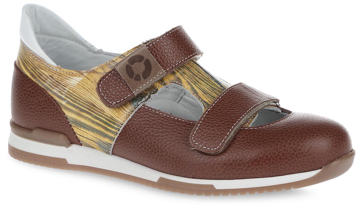 Туфли детские TapiBoo, цвет: бук, коричневый. FT-25004.16-OL13O.01-29. Размер 29FT-25004.16-OL13O.01Детские туфли от TapiBoo прекрасно подойдут для ежедневной профилактики плоскостопия. Модель выполнена из натуральной кожи с зернистой фактурой и оформлена по бокам, в верхней части принтом под бук, на заднике - контрастной вставкой из кожи. Ремешки на застежках-липучках позволяют легко, снимать и надевать обувь даже самым маленьким детям, обеспечивая при этом оптимальную фиксацию стопы. Верхний ремешок оформлен нашивкой с символикой бренда. Кожаная подкладка предотвратит натирание. Анатомическая стелька, изготовленная из натуральной кожи, дополнена сводоподдерживающим элементом для правильного формирования стопы. Благодаря использованию современных внутренних материалов позволяет оптимально распределить нагрузку по всей площади стопы и свести к минимуму ее ударную составляющую. Жесткий фиксирующий задник надежно стабилизирует голеностопный сустав во время ходьбы. Эластичный подносок надежно защищает переднюю часть стопы ребенка не сжимая пальцы ног, оставляя достаточно пространства для естественной подвижности. Каблук продлен с внутренней стороны до середины стопы, чтобы исключить вращение (заваливание) стопы вовнутрь. Упругая, эластичная подошва позволяет повторить естественное движение стопы при ходьбе для правильного распределения нагрузки на опорно-двигательный аппарат ребенка. Такие туфли займут достойное место среди коллекции обуви вашего ребенка.Уважаемые клиенты! Обращаем ваше внимание на допустимые незначительные изменения в дизайне - некоторые детали товара могут отличаться от товара, изображенного на фотографии.
