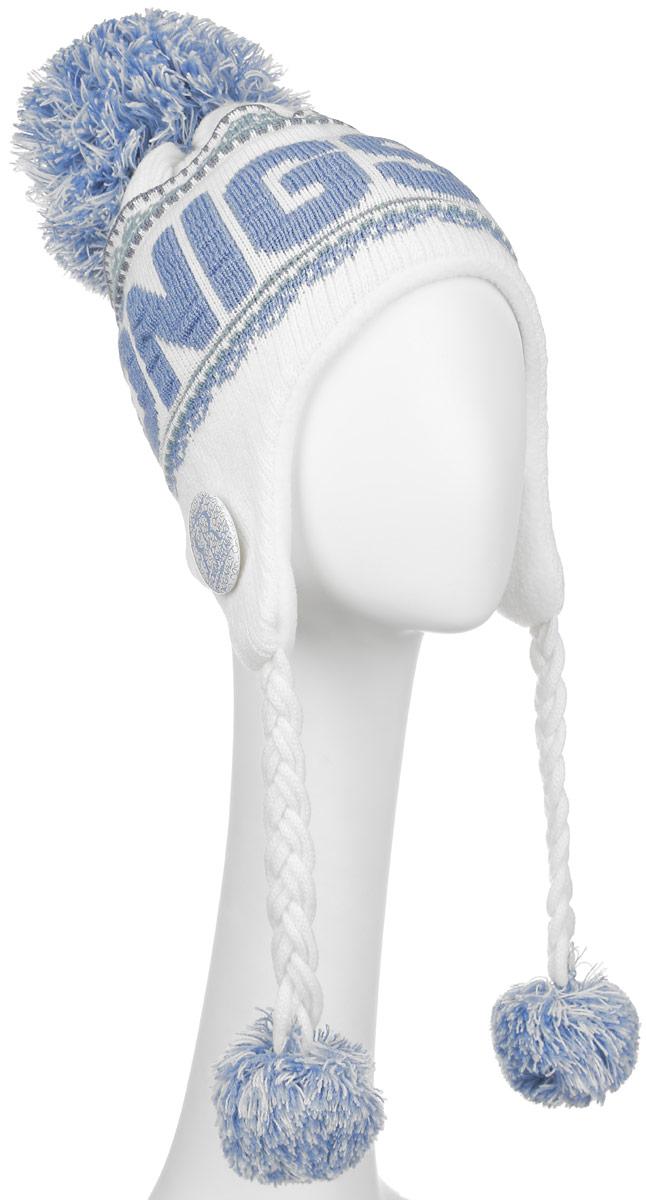 Шапка Robin Ruth с принтом Konigsberg, цвет: белый, голубойKKO002-AШапка Robin Ruth выполнена из акрила, сохраняющего тепло. Внешняя сторона - вязаное полотно, подкладка - мягкий флис. Шапка с завязками очень практична - благодаря широким и длинным ушкам тепло и комфорт вам обеспечены даже в самую ветреную погоду.Шапка оформлена помпоном, завязки выполнены в виде кос с помпонами на концах, лицевая сторона декорирована вязаной надписью Konigsberg и пластиковым значком с логотипом фирмы. Такая шапка идеальная для активного отдыха - стильный дизайн подчеркнет вашу индивидуальность, а современные материалы защитят от непогоды.