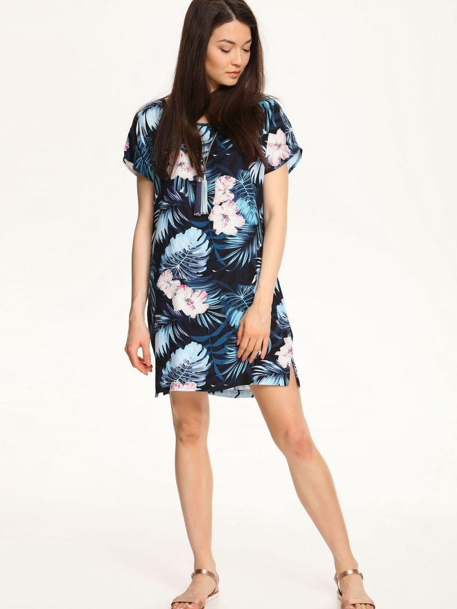Платье Troll, цвет: черный, темно-бирюзовый. TSU0528CA. Размер L (48)TSU0528CAСтильное платье Troll, выполненное из 100% вискозы, подчеркнет ваш изысканный вкус.Модель свободного кроя имеет короткие цельнокроеные рукава и сбоку по низу дополнено небольшими разрезами. Платье оформлено контрастным принтом.