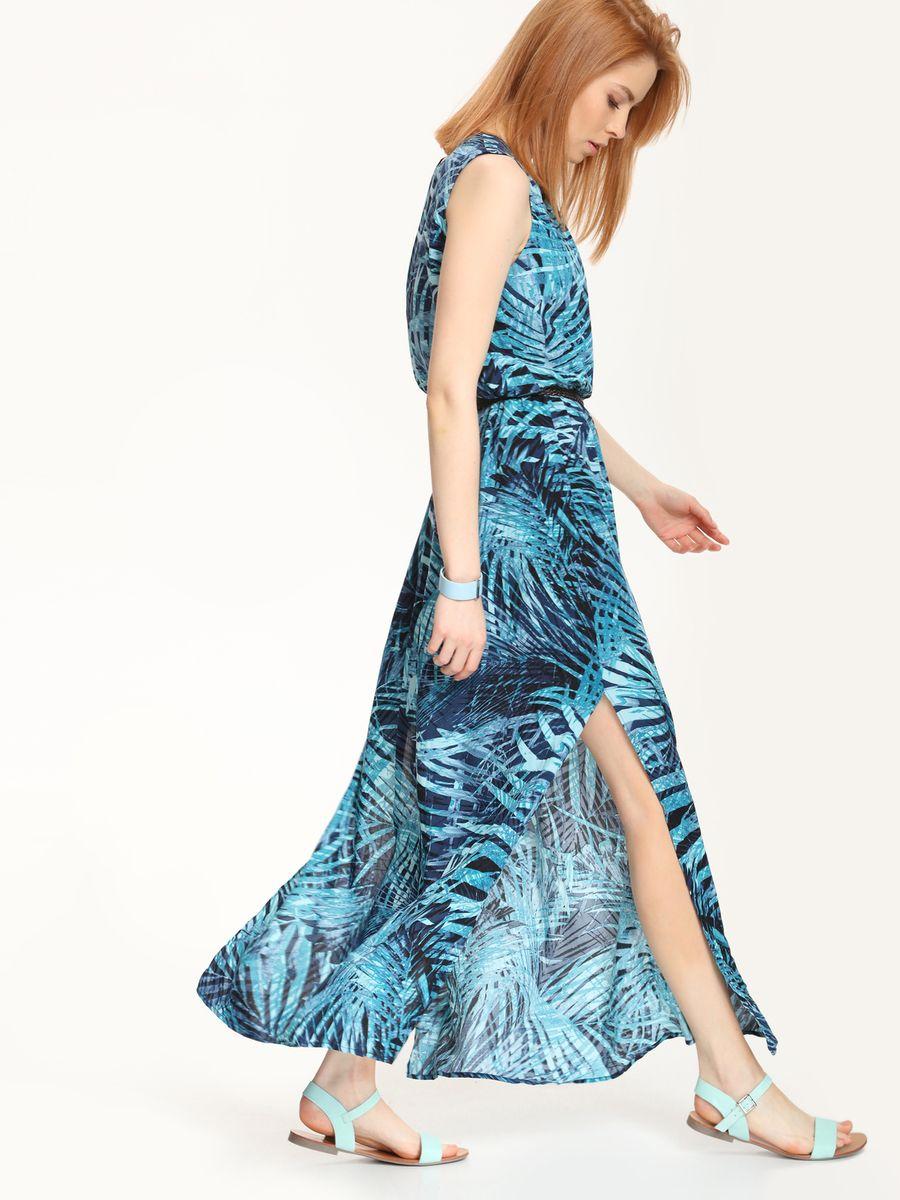 Платье Top Secret, цвет: темно-синий, бирюзовый. SSU1569GR. Размер 34 (40)SSU1569GRПлатье Top Secret выполнено из 100% вискозы и дополнено подкладкой из полиэстера. Платье-макси с круглым вырезом горловины застегивается на навесную пуговицу. По талии модель собрана на резинку, а в боковых швах расположены разрезы. Платье дополнено узким поясом.