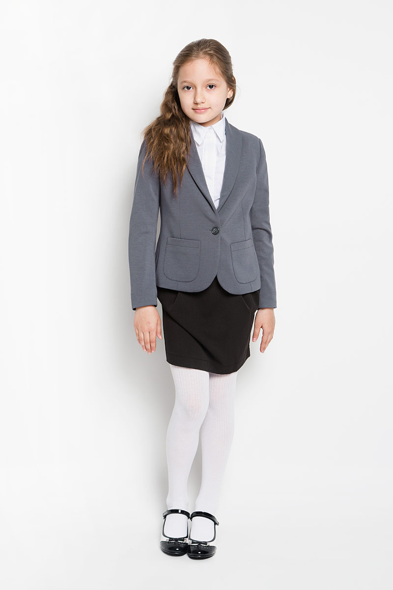 Жакет для девочки Orby School, цвет: серый. 64139_OLG, вариант 1. Размер 170, 13-14 лет64139_OLGКлассический жакет для девочки Orby School - основа делового стиля, а значит и в школьном гардеробе ребенка - это базовый атрибут, необходимый для будней и праздников. Изготовленный из вискозы с добавлением полиэстера и эластана, он необычайно мягкий и приятный на ощупь, не сковывает движения малышки и позволяет коже дышать, не раздражает даже самую нежную и чувствительную кожу ребенка, обеспечивая ему наибольший комфорт.Классический жакет на подкладке, с воротником-шалью и длинными рукавами застегивается на одну пуговицу. Спереди он дополнен двумя накладными кармашками.Являясь важным атрибутом школьной моды, классический жакет подчеркнет деловой имидж ученицы, придавая ей уверенность.