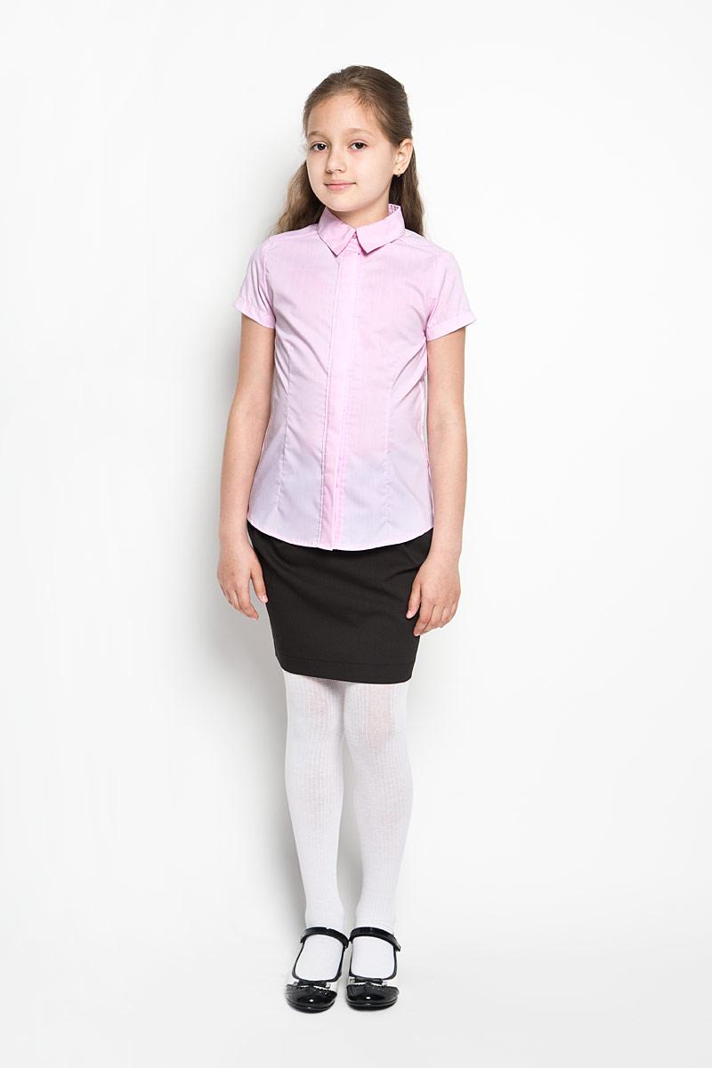Блузка для девочки Orby School, цвет: розовый. 64165_OLG, вариант 3. Размер 152, 10-11 лет64165_OLGЭлегантная блузка для девочки Orby School идеально подойдет для школы. Изготовленная из полиэстера с добавлением хлопка, она необычайно мягкая, легкая и приятная на ощупь, не сковывает движения и позволяет коже дышать, не раздражает даже самую нежную и чувствительную кожу ребенка, обеспечивая наибольший комфорт.Блузка приталенного силуэта с отложным воротником и короткими рукавами застегивается на пуговицы скрытые под планкой. Такая блузка - незаменимая вещь для школьной формы, отлично сочетается с юбками, брюками и сарафанами. Эта модель всегда выглядит великолепно!