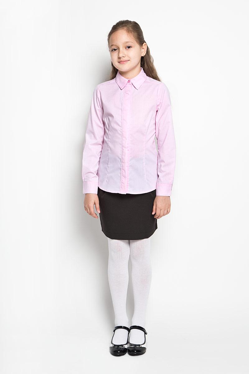 Блузка для девочки Orby School, цвет: розовый. 64209_OLG, вариант 3. Размер 122, 7-8 лет64209_OLGЭлегантная блузка для девочки Orby School идеально подойдет для школы. Изготовленная из полиэстера с добавлением хлопка, она необычайно мягкая, легкая и приятная на ощупь, не сковывает движения и позволяет коже дышать, не раздражает даже самую нежную и чувствительную кожу ребенка, обеспечивая наибольший комфорт.Блузка приталенного силуэта с отложным воротником и длинными рукавами застегивается на пуговицы скрытые под планкой. Рукава дополнены неширокими манжетами на пуговицах. Такая блузка - незаменимая вещь для школьной формы, отлично сочетается с юбками, брюками и сарафанами. Эта модель всегда выглядит великолепно!