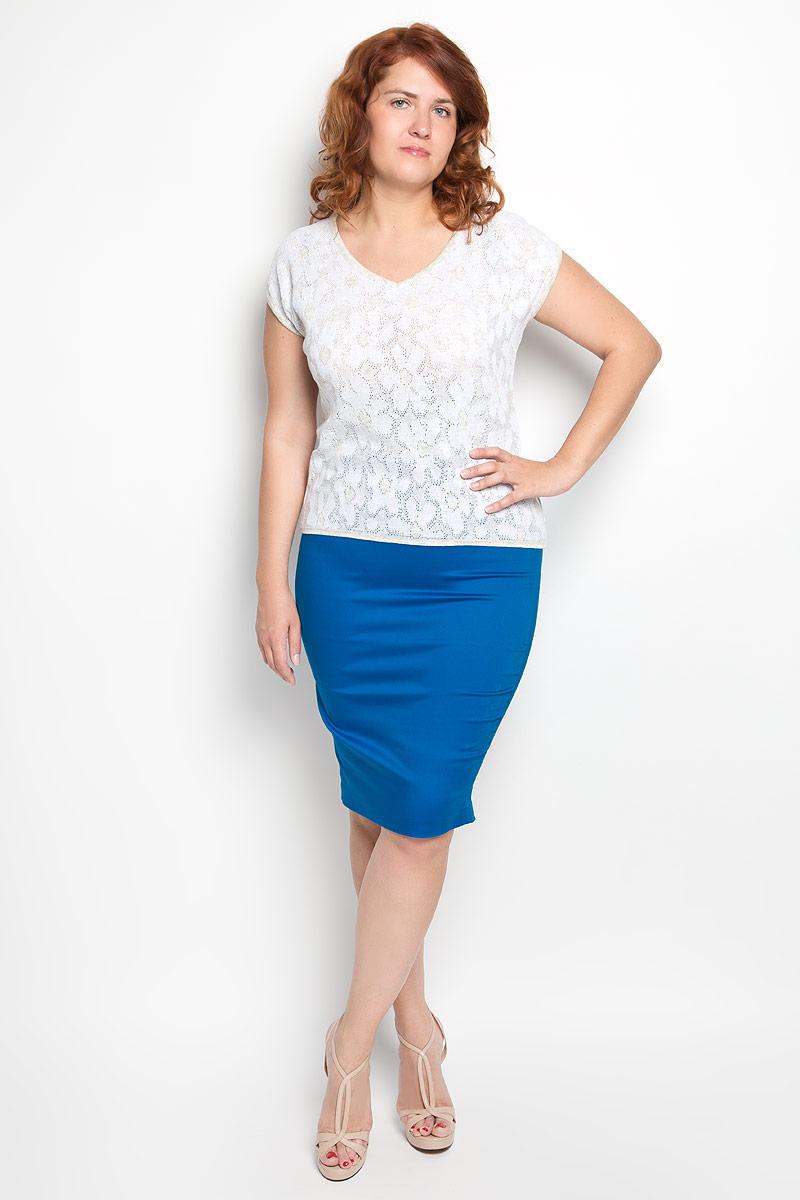 Джемпер женский Milana Style, цвет: бежевый, белый. w95. Размер 48w95Стильная вязаная женская футболка Milana Style, выполненная из хлопка и ПАНа, прекрасно подойдет для повседневной носки. Материал очень мягкий и приятный на ощупь, не сковывает движения и позволяет коже дышать. Футболка с V-образным вырезом горловины и цельнокроеными короткими рукавами оформлена оригинальным ажурным узором. Вырез горловины, края рукавов и низ модели связаны мелкой резинкой, что предотвращает деформацию при носке. Такая модель будет дарить вам комфорт в течение всего дня и станет модным дополнением к вашему гардеробу.