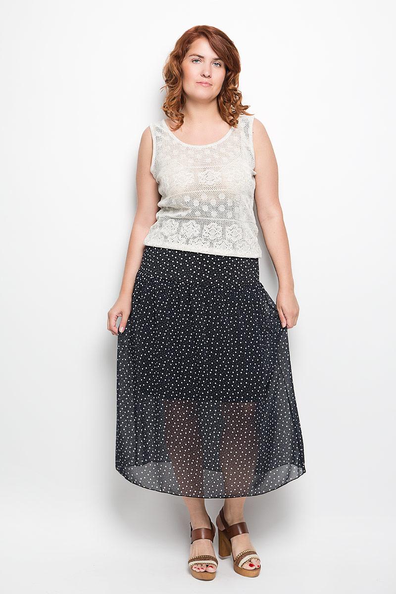 Юбка Milana Style, цвет: черный, белый. 913м. Размер 50913мМодная юбка-макси Milana Style изготовленная из полупрозрачного струящегося полиэстера с добавлением вискозы и лайкры, не раздражает кожу и хорошо вентилируется. Модель на тонкой подкладке, ниже линии талии дополнена небольшими складками. По всей длине юбка оформлена принтом в мелкий горох. Стильная юбка модной длины позволит вам создать неповторимый женственный образ. В таком наряде вы, безусловно, привлечете восхищенные взгляды окружающих.