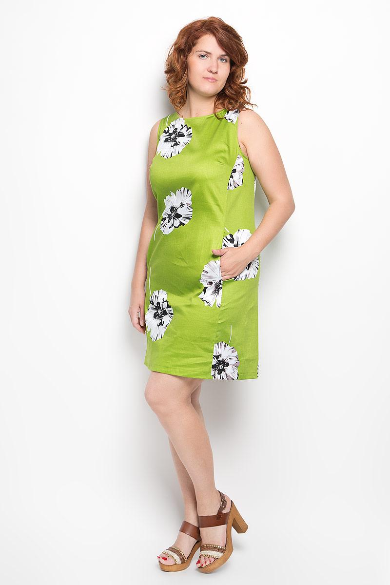 Платье Milana Style, цвет: зеленый, белый, черный. 020416. Размер 50020416Платье Milana Style идеально подойдет для вас и станет стильным дополнением к вашему гардеробу. Выполненное из хлопка с добавлением эластана, оно очень приятное на ощупь, не сковывает движений и хорошо вентилируется.Модель с круглым вырезом горловины, без рукавов оформлена оригинальным цветочным принтом. Спереди платье-миди дополнено небольшими втачными карманами. Такое платье поможет создать яркий и привлекательный образ, в нем вам будет удобно и комфортно.