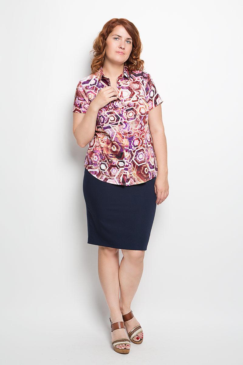 Блузка женская Milana Style, цвет: розовый, фиолетовый, коричневый. 050416. Размер XXL (52)050416Женская блузка Milana Style, выполненная из мягкого и легкого материала, прекрасно дополнит ваш образ. Изделие тактильно приятное, не сковывает движения и хорошо вентилируется. Блузка с отложным воротником и короткими рукавами застегивается спереди на пуговицы. Модель имеет слегка приталенный силуэт. Оформлено изделие ярким красочным принтом.Такая блузка будет дарить вам комфорт в течение всего дня и станет стильным дополнением к вашему гардеробу!