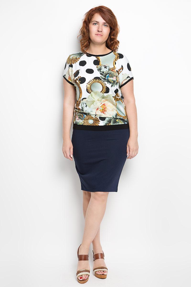 Блузка женская Milana Style, цвет: белый, черный. 924м_1. Размер XXL (52)924мЖенская блузка Milana Style займет достойное место в вашем гардеробе. Модель выполнена из полиэстера с добавлением вискозы и лайкры. Материал мягкий, тактильно приятный, не сковывает движения и хорошо вентилируется.Блузка с круглым вырезом горловины и короткими рукавами оформлена оригинальным принтом. Вырез горловины, края рукавов и низ изделия дополнены вставками контрастного цвета.Замечательная женская блузка Milana Style подчеркнет ваш уникальный стиль и поможет создать модный образ!