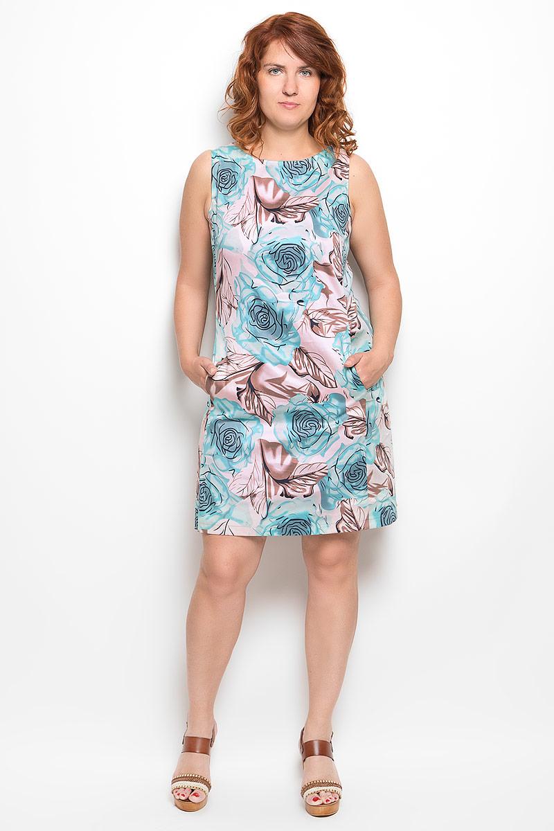Платье Milana Style, цвет: голубой, нежно-розовый, коричневый. 020416. Размер 58020416Платье Milana Style идеально подойдет для вас и станет стильным дополнением к вашему гардеробу. Выполненное из хлопка с добавлением эластана, оно очень приятное на ощупь, не сковывает движений и хорошо вентилируется.Модель с круглым вырезом горловины, без рукавов оформлена оригинальным цветочным принтом. Спереди платье-миди дополнено небольшими втачными карманами. Такое платье поможет создать яркий и привлекательный образ, в нем вам будет удобно и комфортно.