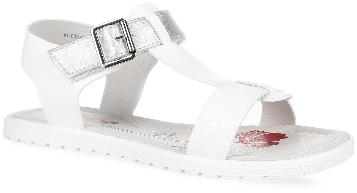 Сандалии для девочки Flamingo, цвет: белый, серебристый. 61-CS140. Размер 3361-CS140Модные сандалии от Flamingo придутся по душе вашей девочке. Модель изготовлена из искусственной кожи. Ремешок с застежкой-липучкой, оформленный металлической декоративной пряжкой, обеспечивает надежную фиксацию модели на ноге. Внутренняя поверхность и стелька из натуральной кожи комфортны при ходьбе. Стелька оснащена супинатором, который обеспечивает правильное положение стопы ребенка при ходьбе и предотвращает плоскостопие. С боковой стороны ремешок оформлен фирменным тиснением. Подошва с рифлением обеспечивает сцепление с любой поверхностью. Стильные сандалии - незаменимая вещь в гардеробе каждой девочки!