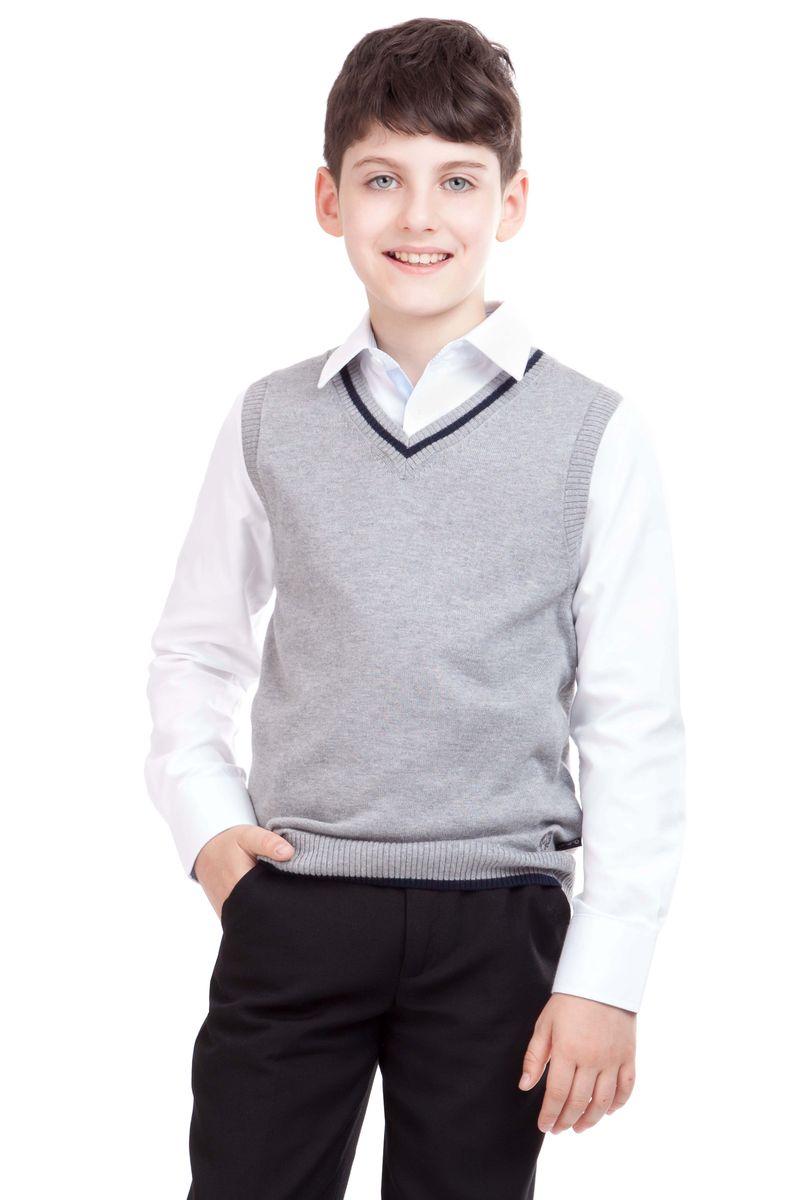 Жилет для мальчика Gulliver, цвет: серый. 21501BSC3001. Размер 158, 12-13 лет21501BSC3001Являясь важным атрибутом школьной моды, уютный школьный жилет для мальчика создает тепло и комфорт. Комбинация фактур и контрастные элементы выделяют жилет из базового ассортимента. Сложный состав пряжи делает жилет мягким и очень комфортным в носке. В отделке вышивка с монограммой GSC (Gulliver School Collection).