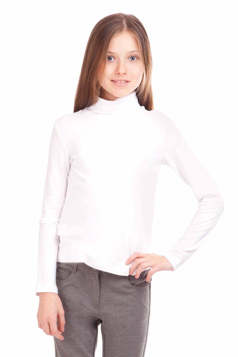 Водолазка для девочки Gulliver, цвет: белый. 21502GSC1802. Размер 128, 7-8 лет21502GSC1802Школьные водолазки занимают в деловом гардеробе ребенка важное место. В них удобно, комфортно, уютно, они не сковывают движений, позволяя ученице быть самой собой. Водолазка из шелковистой вискозы с эластаном создает деловое настроение, при этом выглядит стильно и элегантно. Не имея декоративных элементов на передней части, она прекрасно дополнит собой любой сарафан. И в комплекте с брюками или юбкой будет выглядеть безупречно!