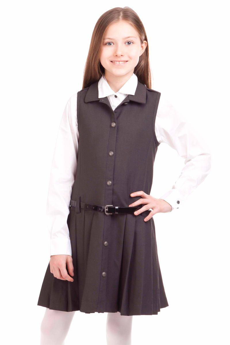Сарафан для девочки Gulliver, цвет: темно-серый. 21502GSC2503. Размер 152, 11-12 лет21502GSC2503Купить школьный сарафан проще простого. Но купить стильный сарафан для школы, который украсит и порадует ребенка не очень легко. Замечательный сарафан из ткани с содержанием шерсти выглядит красиво и интересно. Прекрасный силуэт, юбка в складку, оригинальные металлические пуговицы с монограммой GSC (Gulliver School Collection) делают сарафан очень деликатным, изящным, выразительным. Сарафан выглядит очень элегантно с блузкой или прилегающей футболкой из вискозы или хлопка.