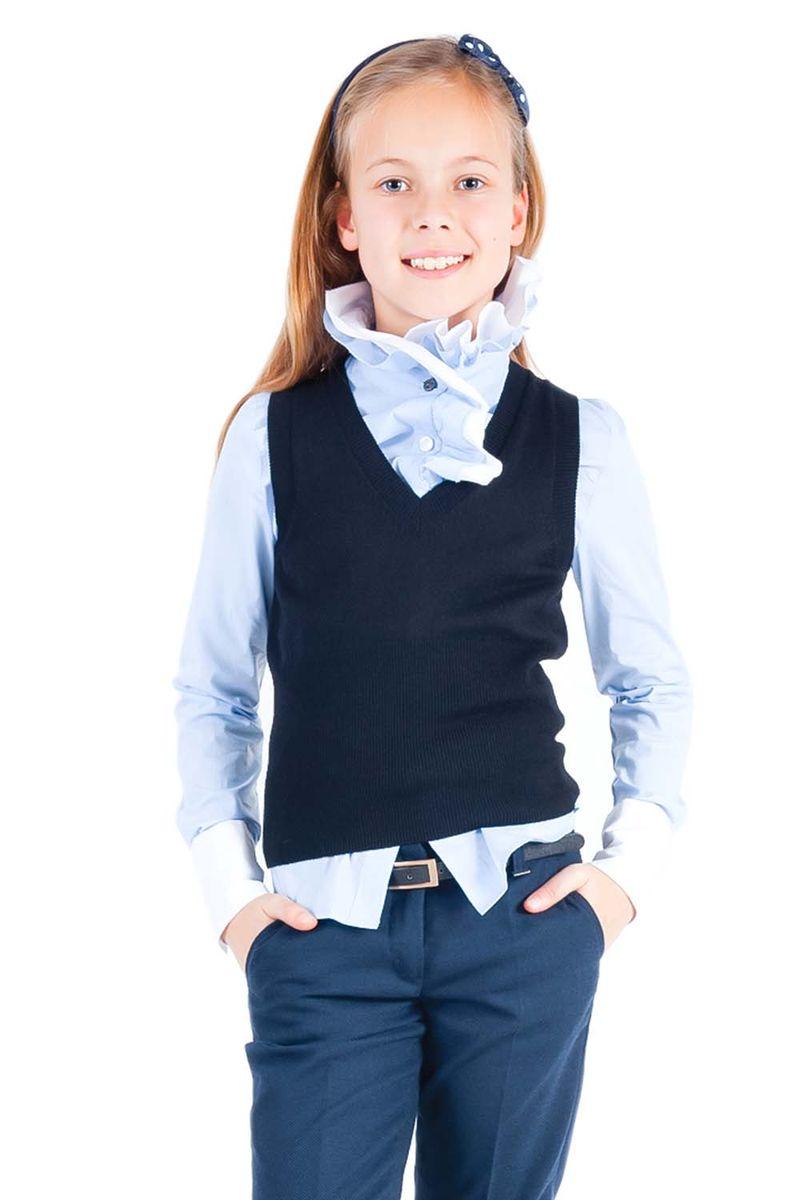 Жилет для девочки Gulliver, цвет: черный. 21502GSC3001. Размер 128, 7-8 лет21502GSC3001Школьный жилет способен красиво завершить любой комплект и придать ему разнообразие. Являясь важным атрибутом школьной моды, уютный вязаный жилет создает тепло и комфорт. Интересный силуэт изделия, созданный благодаря комбинации разных типов вязки, выделяют жилет из базового ассортимента. Сложный состав пряжи делает жилет для школы мягким и очень удобным в носке.