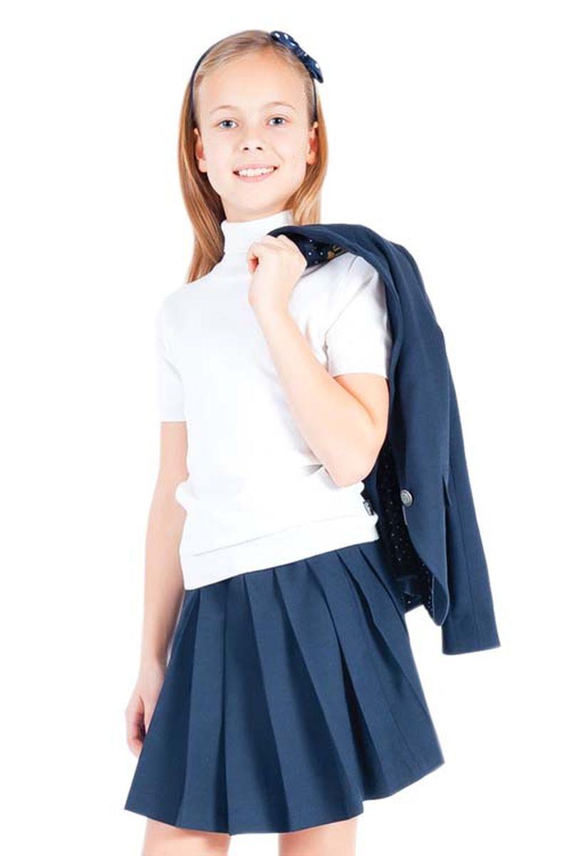 Водолазка для девочки Gulliver, цвет: белый. 21502GSC3201. Размер 146, 10-11 лет21502GSC3201Школьные водолазки занимают в деловом гардеробе ребенка важное место. В них удобно, комфортно, уютно, они не сковывают движений, позволяя ученице быть самой собой. Сложный состав пряжи, состоящий из вискозы, шерсти, хлопка и нейлона делает водолазку очень мягкой, шелковистой, приятной на ощупь.