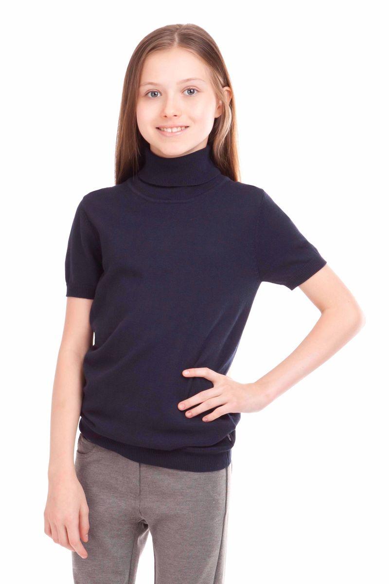 Водолазка для девочки Gulliver, цвет: темно-синий. 21502GSC3202. Размер 122, 6-7 лет21502GSC3202Школьные водолазки занимают в деловом гардеробе ребенка важное место. В них удобно, комфортно, уютно, они не сковывают движений, позволяя ученице быть самой собой. Сложный состав пряжи, состоящий из вискозы, шерсти, хлопка и нейлона делает водолазку очень мягкой, шелковистой, приятной на ощупь.