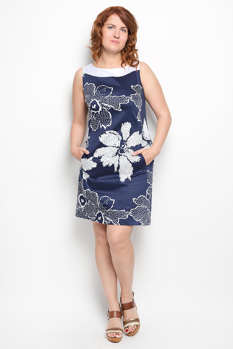 Платье Milana Style, цвет: темно-синий, белый. 020416. Размер 50020416Платье Milana Style идеально подойдет для вас и станет стильным дополнением к вашему гардеробу. Выполненное из хлопка с добавлением эластана, оно очень приятное на ощупь, не сковывает движений и хорошо вентилируется.Модель с круглым вырезом горловины, без рукавов оформлена оригинальным цветочным принтом. Спереди платье-миди дополнено небольшими втачными карманами. Такое платье поможет создать яркий и привлекательный образ, в нем вам будет удобно и комфортно.