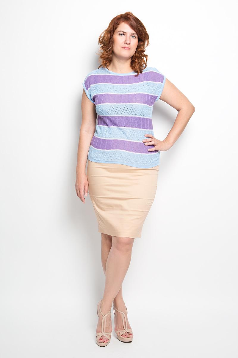 Джемпер женский Milana Style, цвет: голубой, сиреневый, белый. w83. Размер 44w83Модный женский джемпер Milana Style, изготовленный из высококачественной пряжи из ПАНа с добавлением хлопка, мягкий и приятный на ощупь, не сковывает движений и обеспечивает наибольший комфорт.Модель с круглым вырезом горловины и короткими рукавами великолепно подойдет для создания современного образа в стиле Casual. Горловина, края рукавов и низ джемпера связаны резинкой. Изделие оформлено оригинальным вязаным узором и принтом в полоску.Этот джемпер послужит отличным дополнением к вашему гардеробу. В нем вы всегда будете чувствовать себя уютно и комфортно.