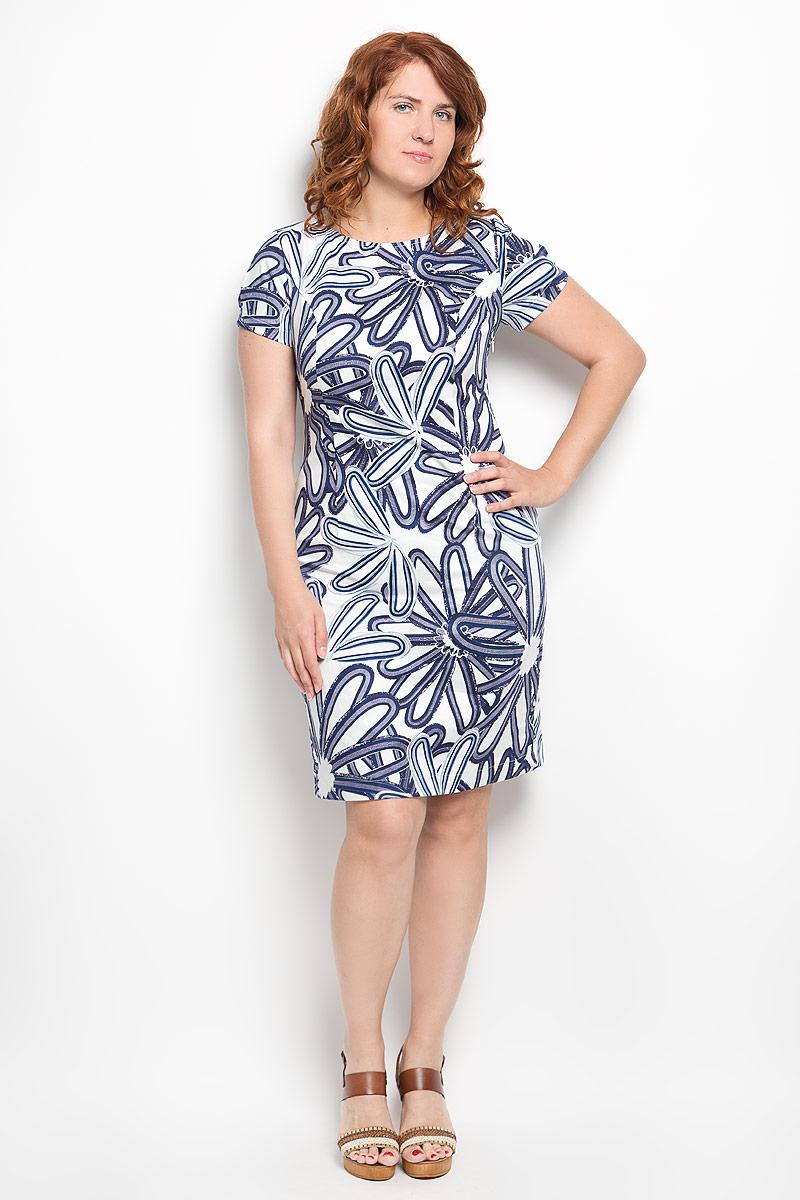 Платье Milana Style, цвет: белый, синий. 010416. Размер 50010416Платье Milana Style идеально подойдет для вас и станет стильным дополнением к вашему гардеробу. Выполненное из хлопка с дополнением эластана, оно очень приятное на ощупь, не сковывает движений и хорошо вентилируется.Модель с круглым вырезом горловины и короткими рукавами оформлено оригинальным цветочным принтом. В боковом шве обработана потайная застежка-молния, а в среднем шве спинки небольшой разрез. Такое платье поможет создать яркий и привлекательный образ, в нем вам будет удобно и комфортно.