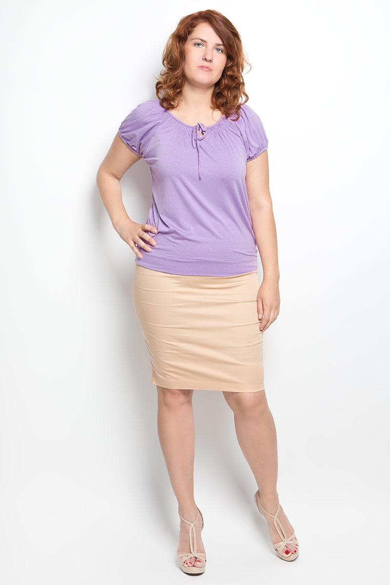 Футболка женская Milana Style, цвет: сиреневый. 54070. Размер 4654070Стильная женская футболка Milana Style, выполненная из вискозы с дополнением эластана, обладает высокой теплопроводностью, воздухопроницаемостью и гигроскопичностью, позволяет коже дышать.Модель с короткими рукавами-реглан и круглым вырезом горловины - идеальный вариант для создания стильного современного образа. Низ рукавов и вырез горловины дополнены сборкой. Вырез горловины также оформлен небольшим бантом. Низ изделия обработан широкой манжетой.Такая модель подарит вам комфорт в течение всего дня и послужит замечательным дополнением к вашему гардеробу.