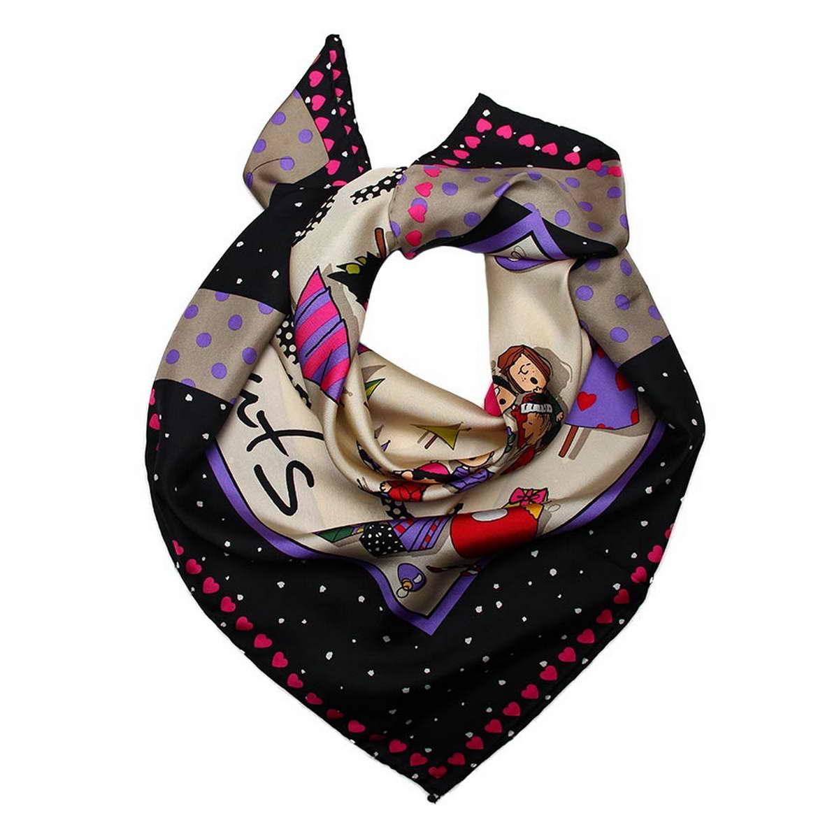 Платок женский Codello, цвет: черный, мультиколор. 1800971-6. Размер 90 см х 90 см1800971-6Стильный женский платок Codello изготовлен из натурального шелка и оформлен оригинальным принтом.Классическая квадратная форма позволяет носить платок на шее, украшать им прическу или декорировать сумочку.Такой платок превосходно дополнит любой наряд и подчеркнет ваш неповторимый вкус и элегантность.