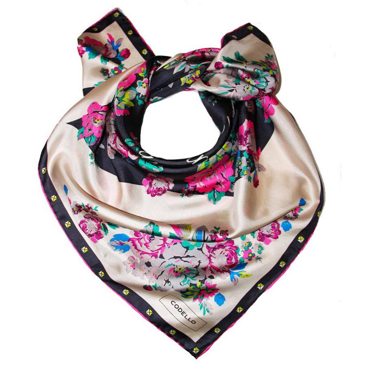 Платок женский Codello, цвет: светло-бежевый, мультиколор. 1800971-11. Размер 90 см х 90 см1800971-11Стильный женский платок Codello изготовлен из натурального шелка и оформлен оригинальным цветочным принтом.Классическая квадратная форма позволяет носить платок на шее, украшать им прическу или декорировать сумочку.Такой платок превосходно дополнит любой наряд и подчеркнет ваш неповторимый вкус и элегантность.