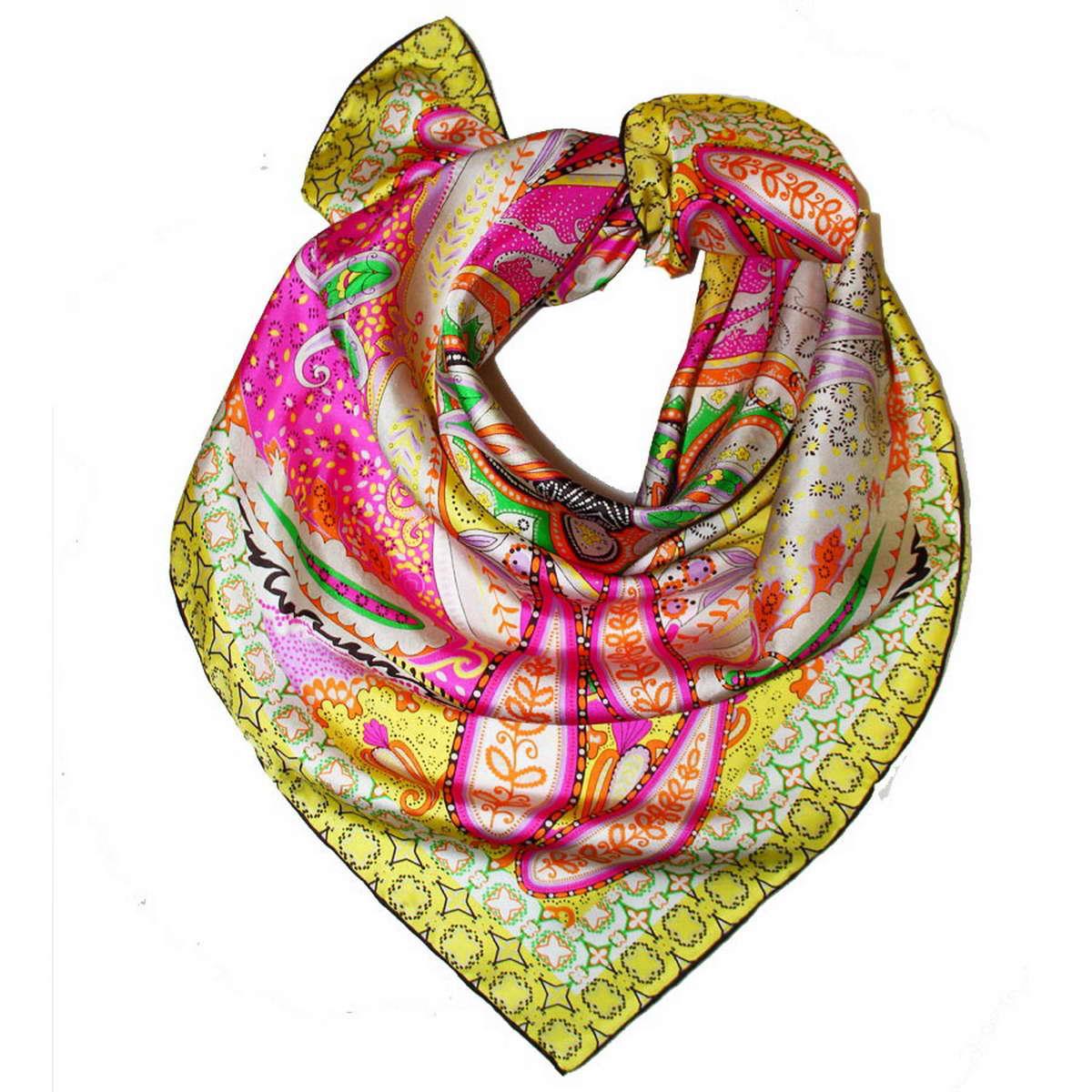Платок женский Venera, цвет: серо-бежевый, мультиколор. 1801171-2. Размер 90 см х 90 см1801171-2Стильный женский платок Venera изготовлен из натурального шелка и оформлен оригинальным, ярким узором.Классическая квадратная форма позволяет носить платок на шее, украшать им прическу или декорировать сумочку.Такой платок превосходно дополнит любой наряд и подчеркнет ваш неповторимый вкус и элегантность.
