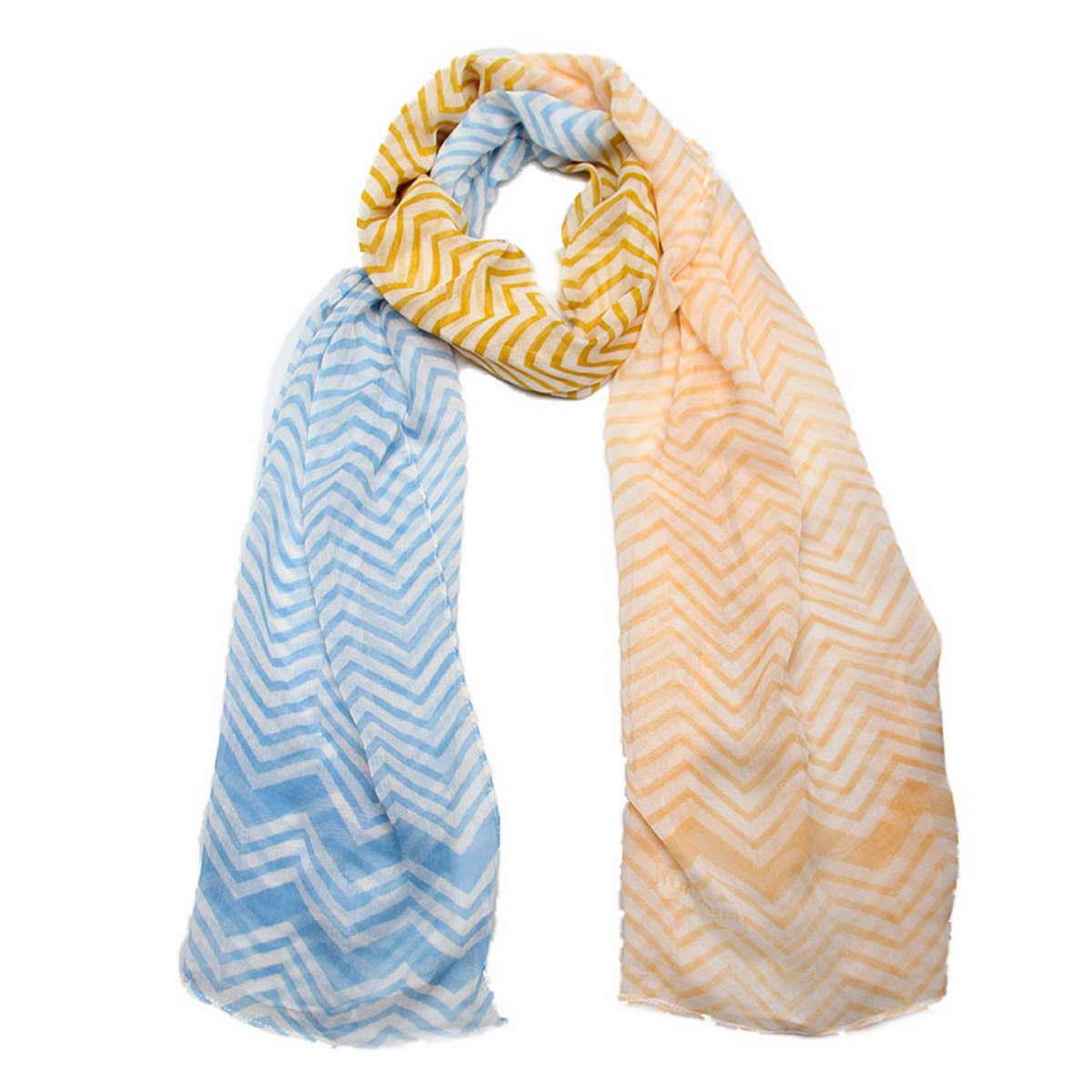 Палантин женский Passigatti, цвет: голубой, белый, оранжевый. 3409041-1. Размер 55 см х 180 см3409041-1Элегантный палантин Passigatti согреет вас в непогоду и станет достойным завершением вашего образа.Палантин изготовлен из 100% вискозы и оформлен оригинальным и модным принтом «зиг-заг». Такой палантин отлично держит форму и красиво драпируется, а как же превосходно дополнит любой ваш наряд и подчеркнет изысканный вкус.
