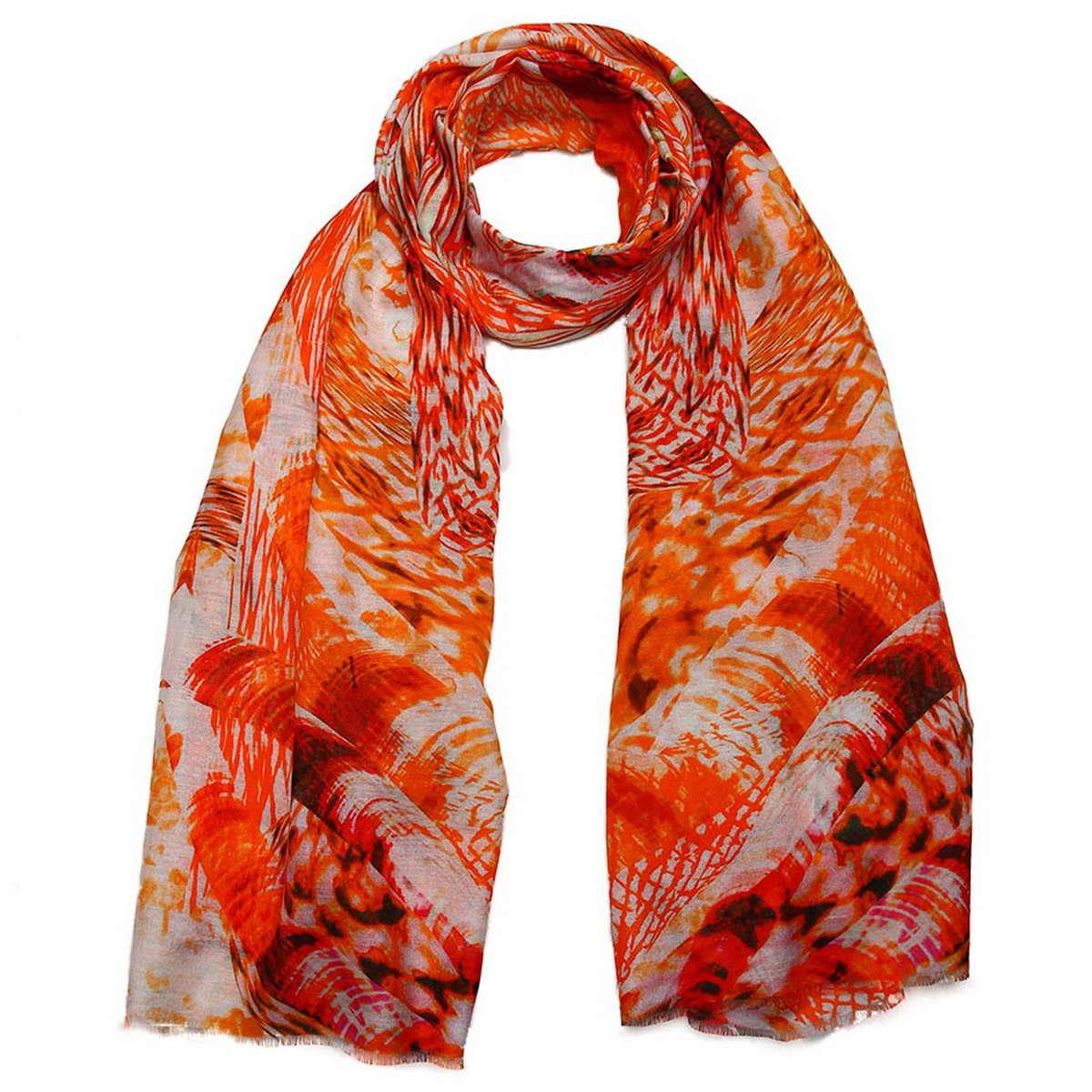 Палантин женский Venera, цвет: красно-оранжевый, белый. 3410641-1. Размер 70 см х 180 см3410641-1Элегантный палантин Venera согреет вас в прохладную погоду и станет достойным завершением вашего образа.Палантин изготовлен из хлопка с добавлением шелка и оформлен гипнотическим принтом. Такой палантин отлично держит форму и красиво драпируется, а как же превосходно дополнит любой ваш наряд и подчеркнет изысканный вкус.