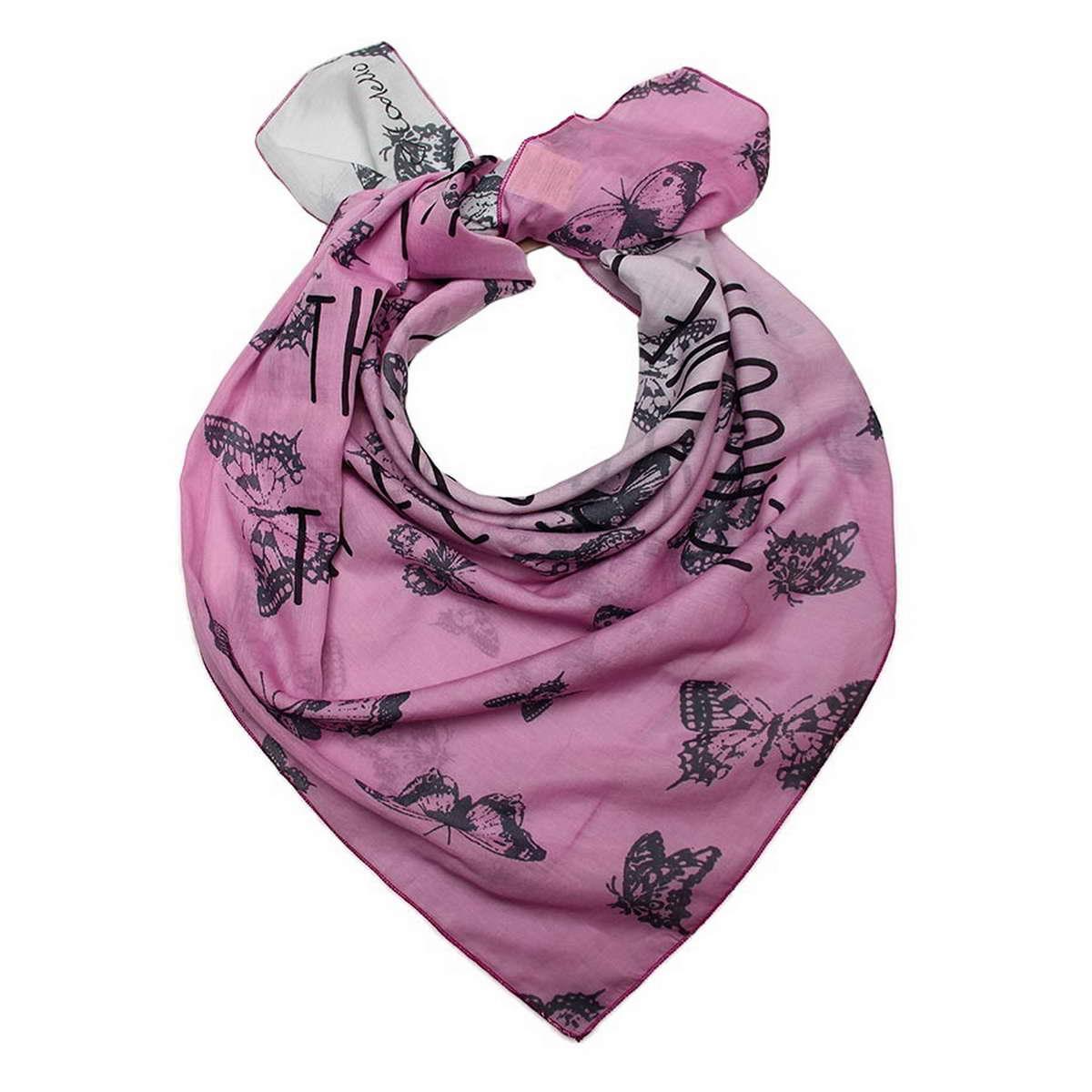 Платок женский Codello, цвет: молочный, розовый, черный. 6700871-3. Размер 90 см х 90 см6700871-3Стильный женский платок Codello, изготовленный из хлопка с добавлением шелка, выполнен в оригинальной цветовой гамме и оформлен оригинальным принтом в виде бабочек.Классическая квадратная форма позволяет носить платок на шее, украшать им прическу или декорировать сумочку.Такой платок превосходно дополнит любой наряд и подчеркнет ваш неповторимый вкус и элегантность.