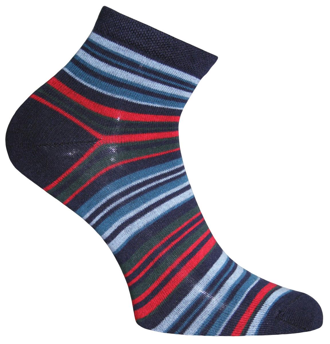 Носки женские Master Socks, цвет: темно-синий, мультиколор. 55109. Размер 2355109Носки Master Socks изготовлены из индийского хлопка с добавлением полиамида и эластана, очень удобных и приятных при носке. Модель оформлена принтом в полоску. Эластичная резинка плотно облегает ногу, не сдавливая ее, обеспечивая комфорт и удобство.