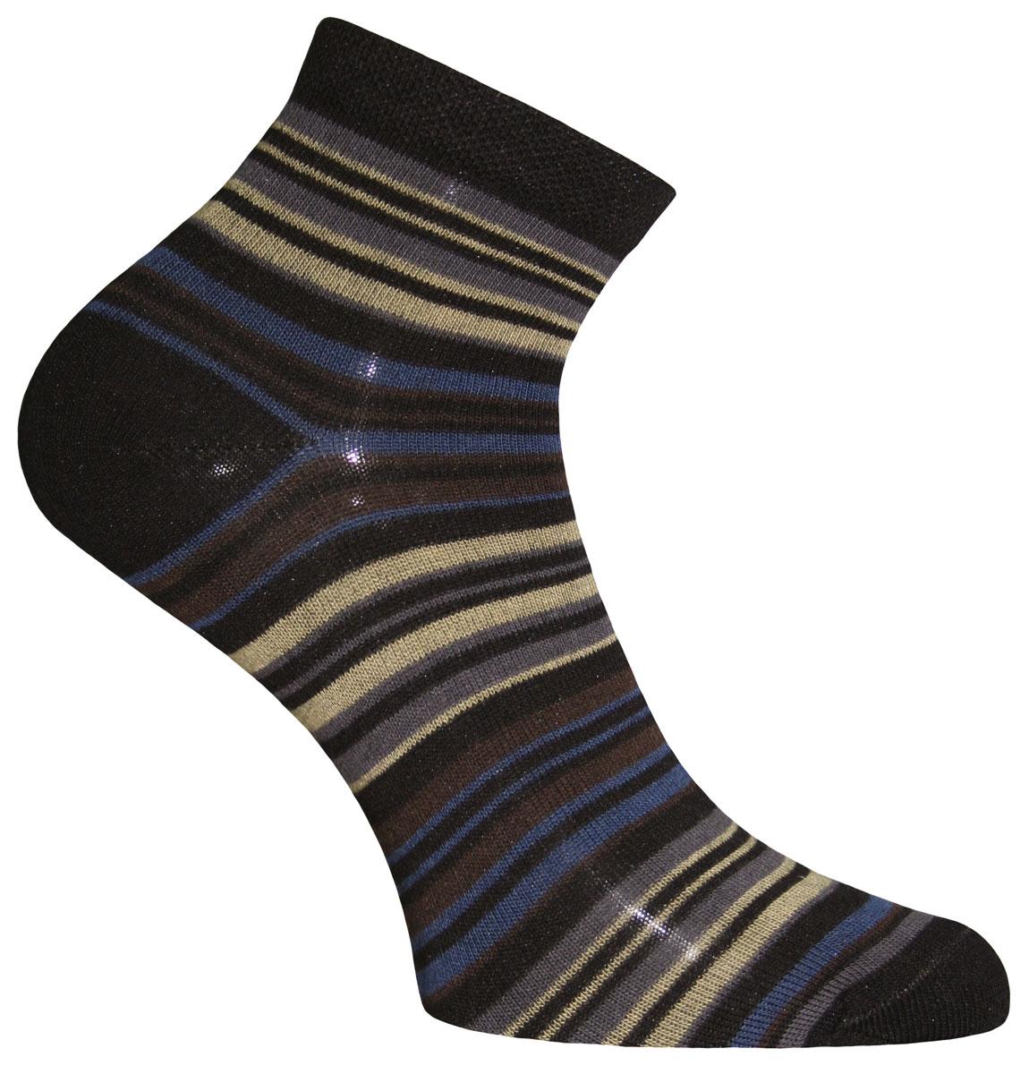 Носки женские Master Socks, цвет: черный, темно-коричневый, хаки. 55109. Размер 2555109Носки Master Socks изготовлены из индийского хлопка с добавлением полиамида и эластана, очень удобных и приятных при носке. Модель оформлена принтом в полоску. Эластичная резинка плотно облегает ногу, не сдавливая ее, обеспечивая комфорт и удобство.