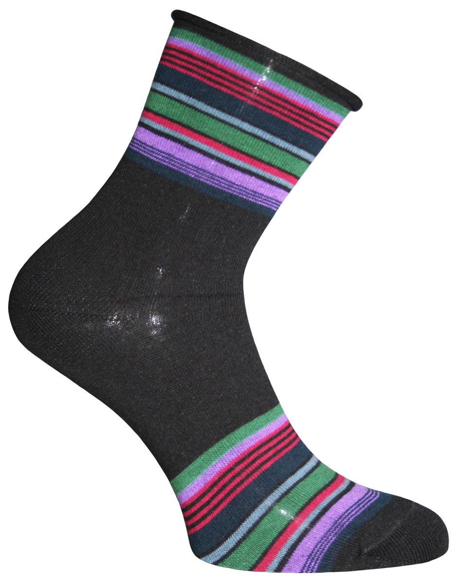 Носки женские Master Socks, цвет: черный, мультиколор. 55305. Размер 2555305Носки Master Socks изготовлены из индийского хлопка с добавлением полиамида и эластана, очень удобных и приятных при носке. Модель оформлена ярким принтом в полоску. Эластичная резинка плотно облегает ногу, не сдавливая ее, обеспечивая комфорт и удобство.