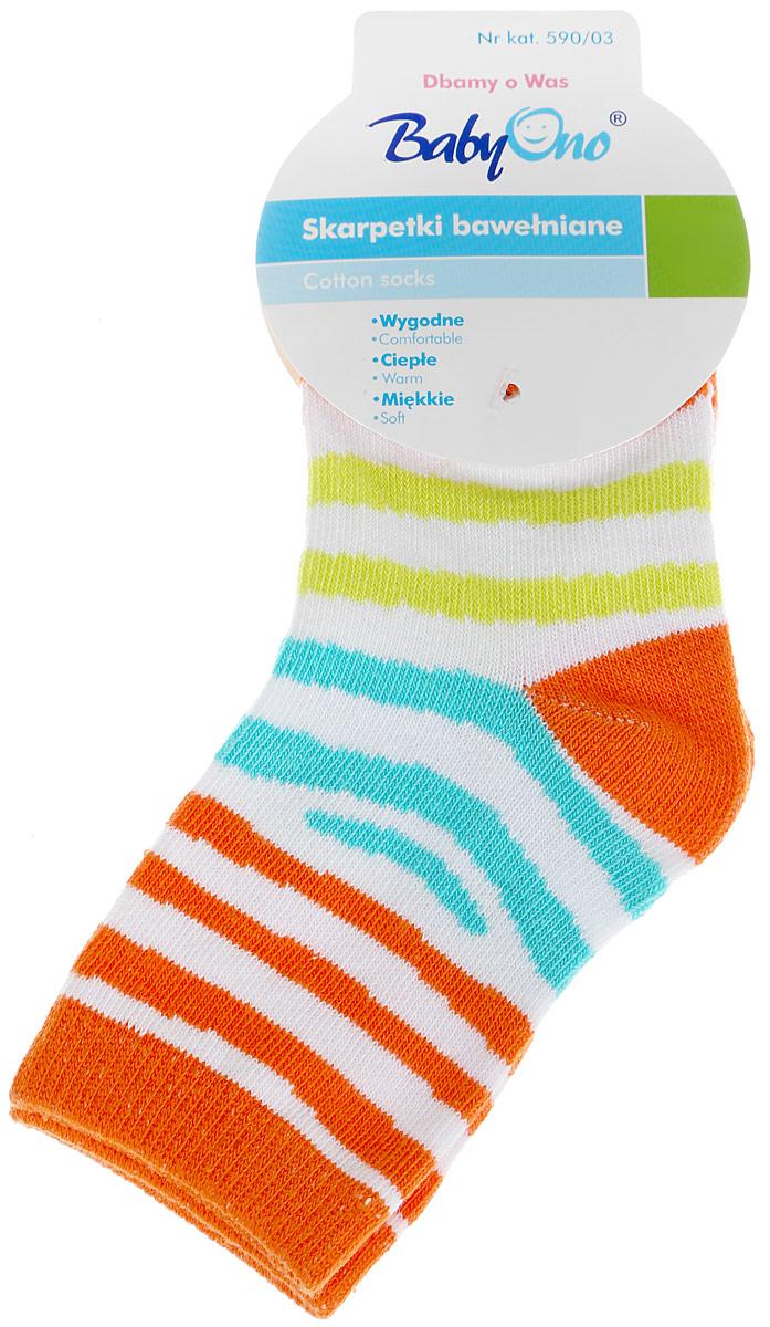 Носки детские BabyOno, цвет: белый, оранжевый. 590/03. Размер 12 мес590/03Удобные носочки BabyOno изготовлены из высококачественных материалов. Ткань очень мягкая и тактильно приятная, позволяет коже дышать. Эластичная резинка мягко облегает ножку ребенка. Модель оформлена ярким принтом в полоску.Такие носочки подарят малышу тепло и комфорт!