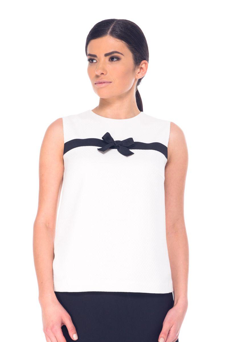 Блузка женская Arefeva, цвет: молочный, черный. L 7052. Размер XL (50)L 7052Женская блузка Arefeva выполнена из высококачественного комбинированного материала. Модель с круглым вырезом горловины застегивается на потайную застежку-молнию расположенную в среднем шве спинки. Блузка оформлена текстильной лентой с бантом.