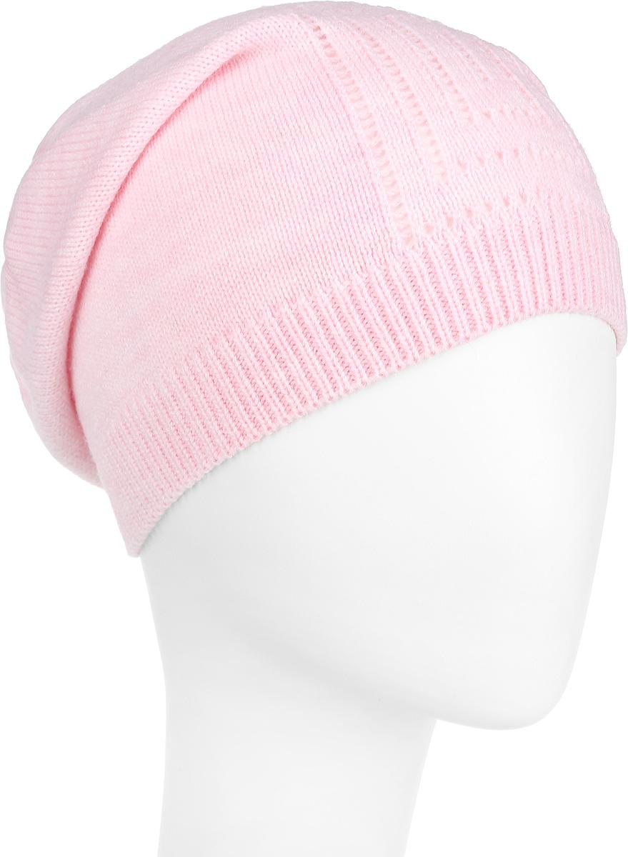Шапка женская Flioraj, цвет: светло-розовый. 7302PI-37. Размер 56/587302PI-37Шапочка-бини Flioraj гармонична со стремлением быть свободной, творческой и энергичной. Выполнена из тонкой мягкой полушерсти, декорирована вывязанным лаконичным узором. Низ шапки связан резинкой, что обеспечивает эластичность и удобную посадку. Такая шапка станет модным и стильным дополнением вашего зимнего гардероба. Она согреет вас и позволит подчеркнуть свою индивидуальность!